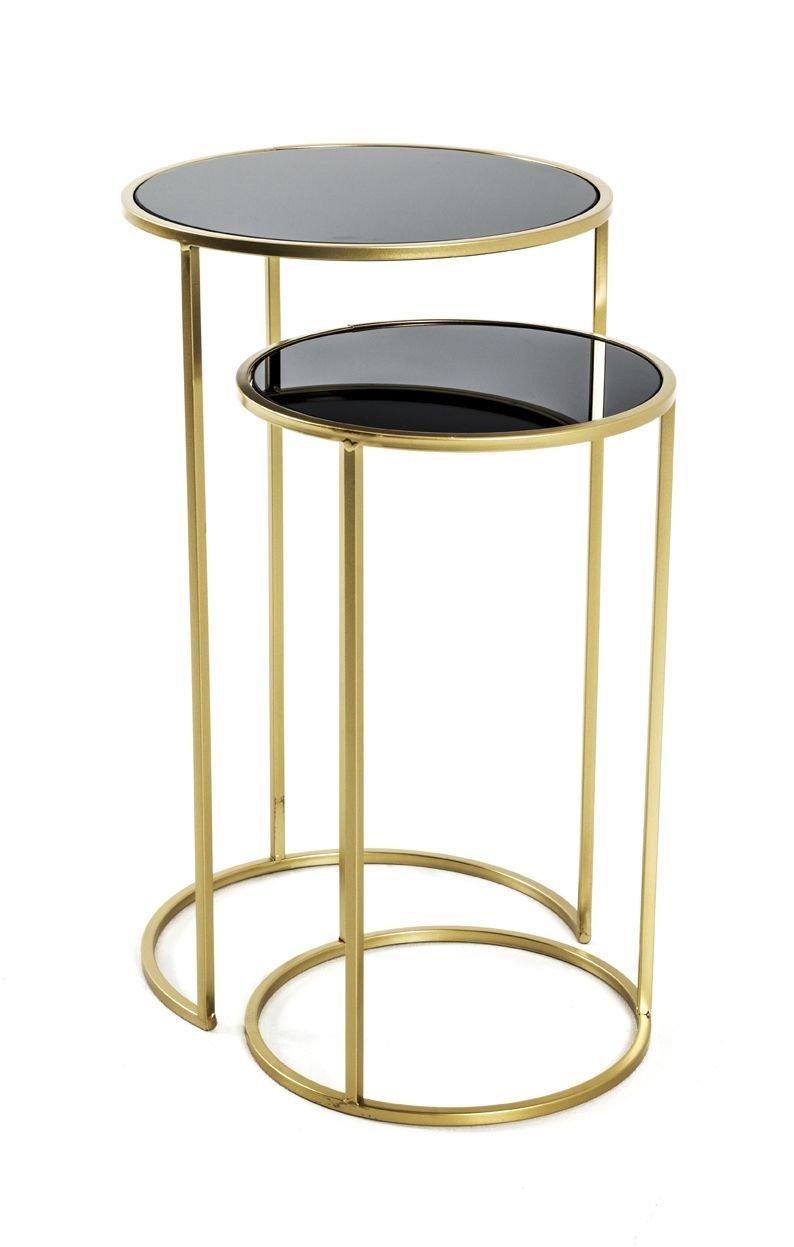 2-Satz Tisch, gold-schwarz, Stahlrohr, SHG 5 mm