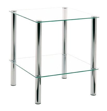 Beistelltisch, chrom, Stahl, Glas