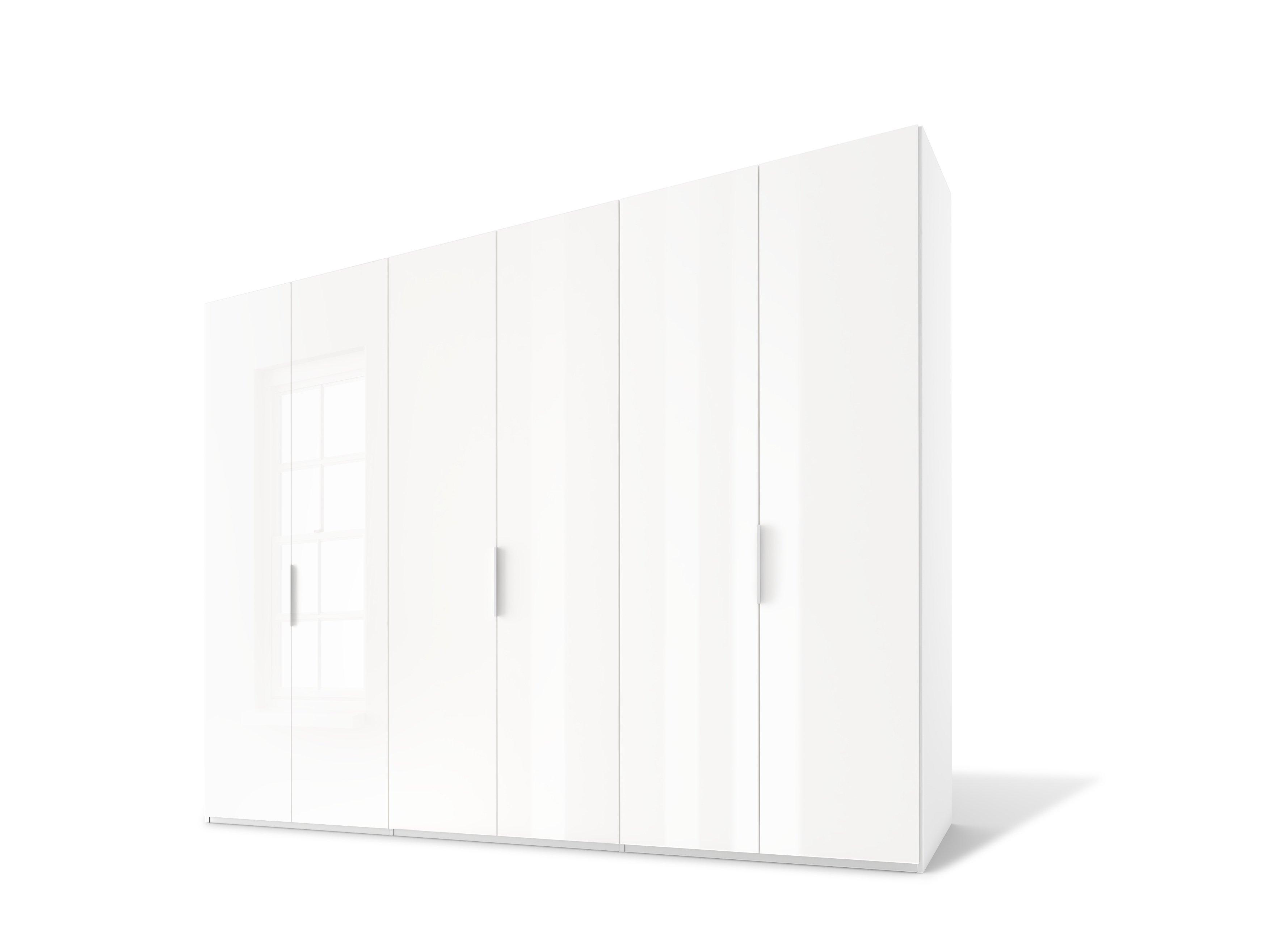 Drehtürenschrank, Weißglas/Weißglas, Korpus  Polarweiß