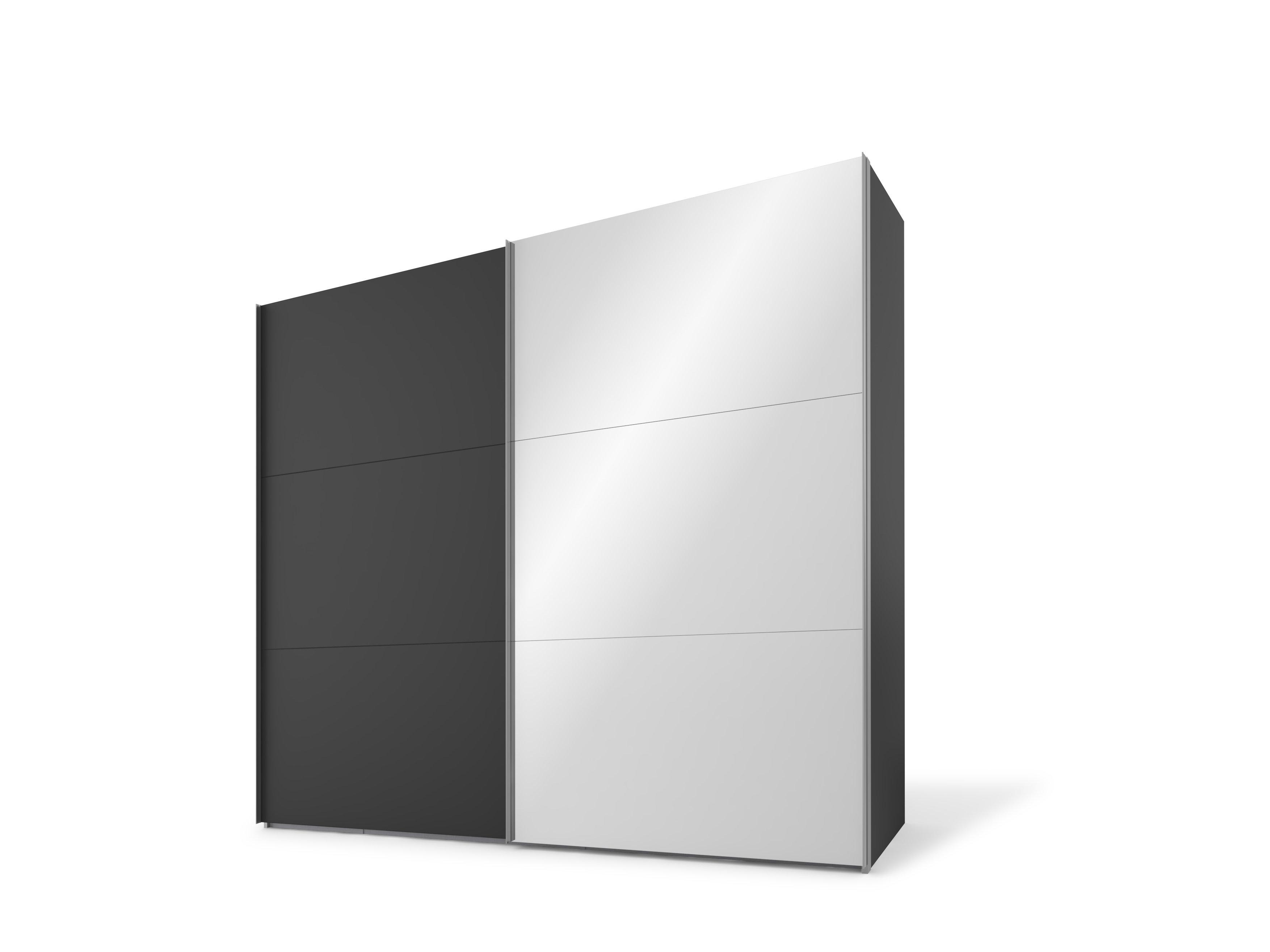 Schwebetürenschrank, Basalt/Spiegel