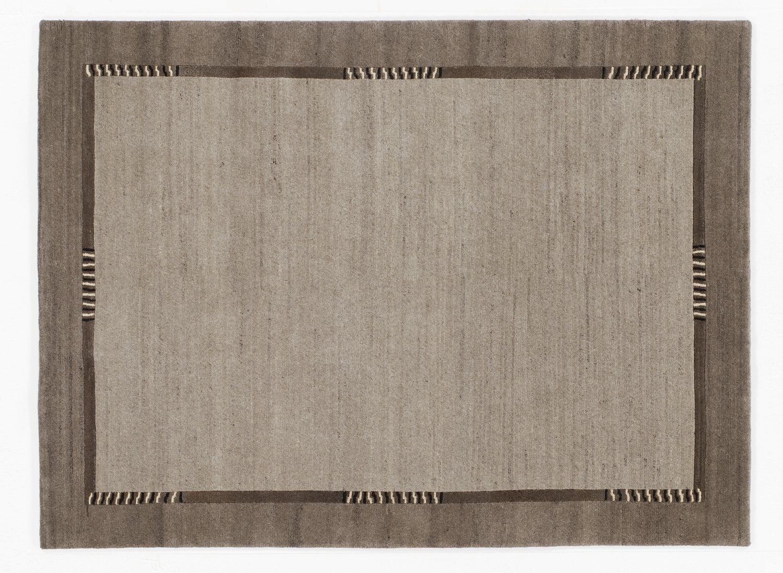 handgeknüpfter Nepal-Teppich Wolle JOWEA NATUR EMOTION h.grau-natur