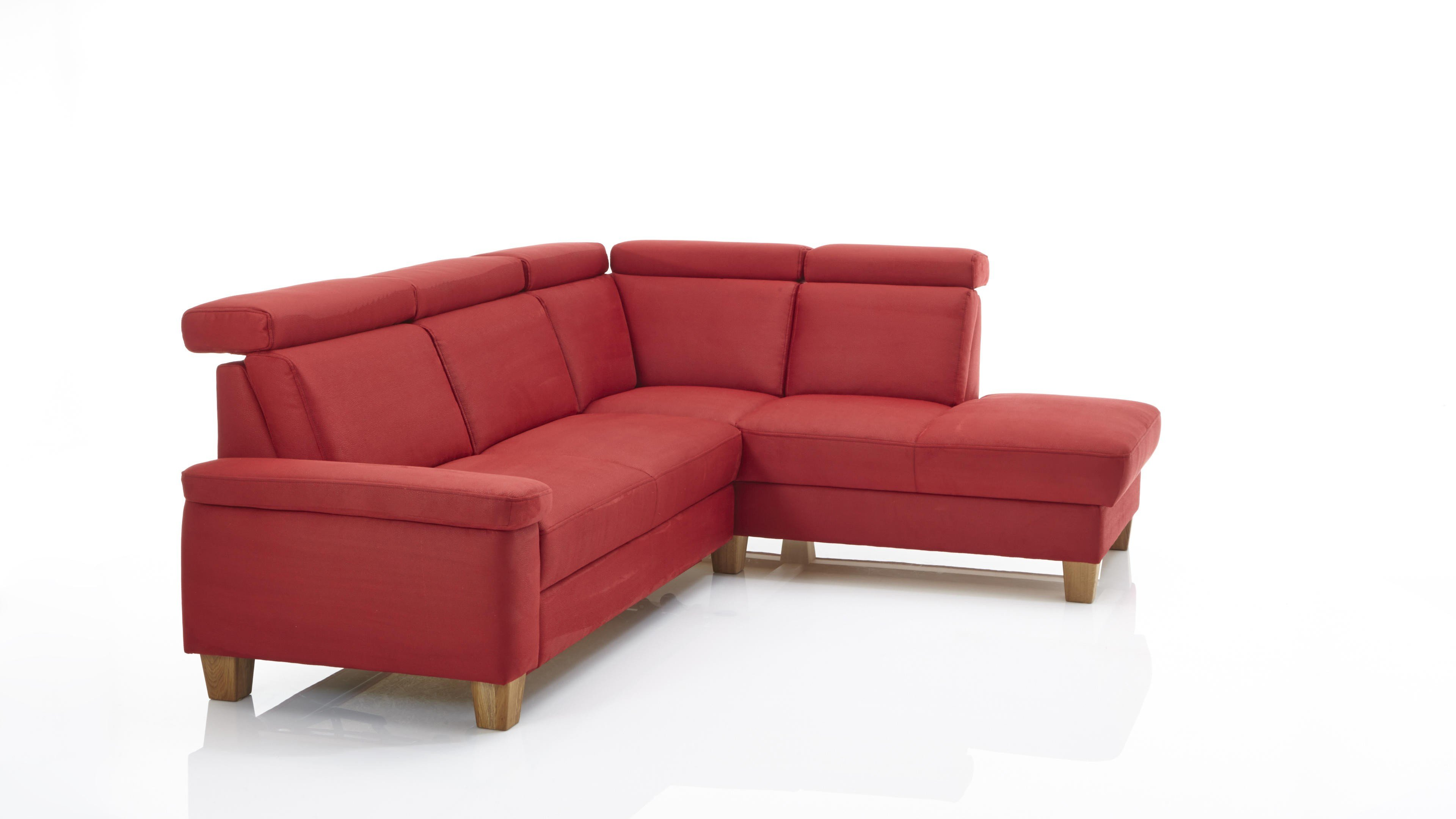 Eckkombination Milano/Milano Plus Rot roter Bezug Zeus - Schenkelmaß ca. 252 x 206 cm