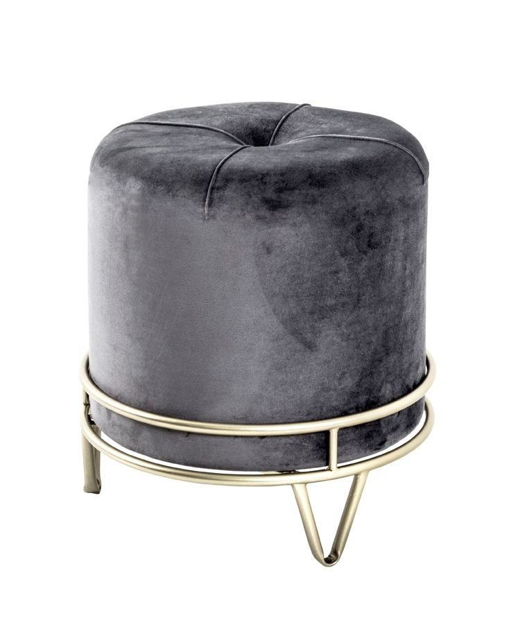 Hocker, grau-gold, MDF, Metall