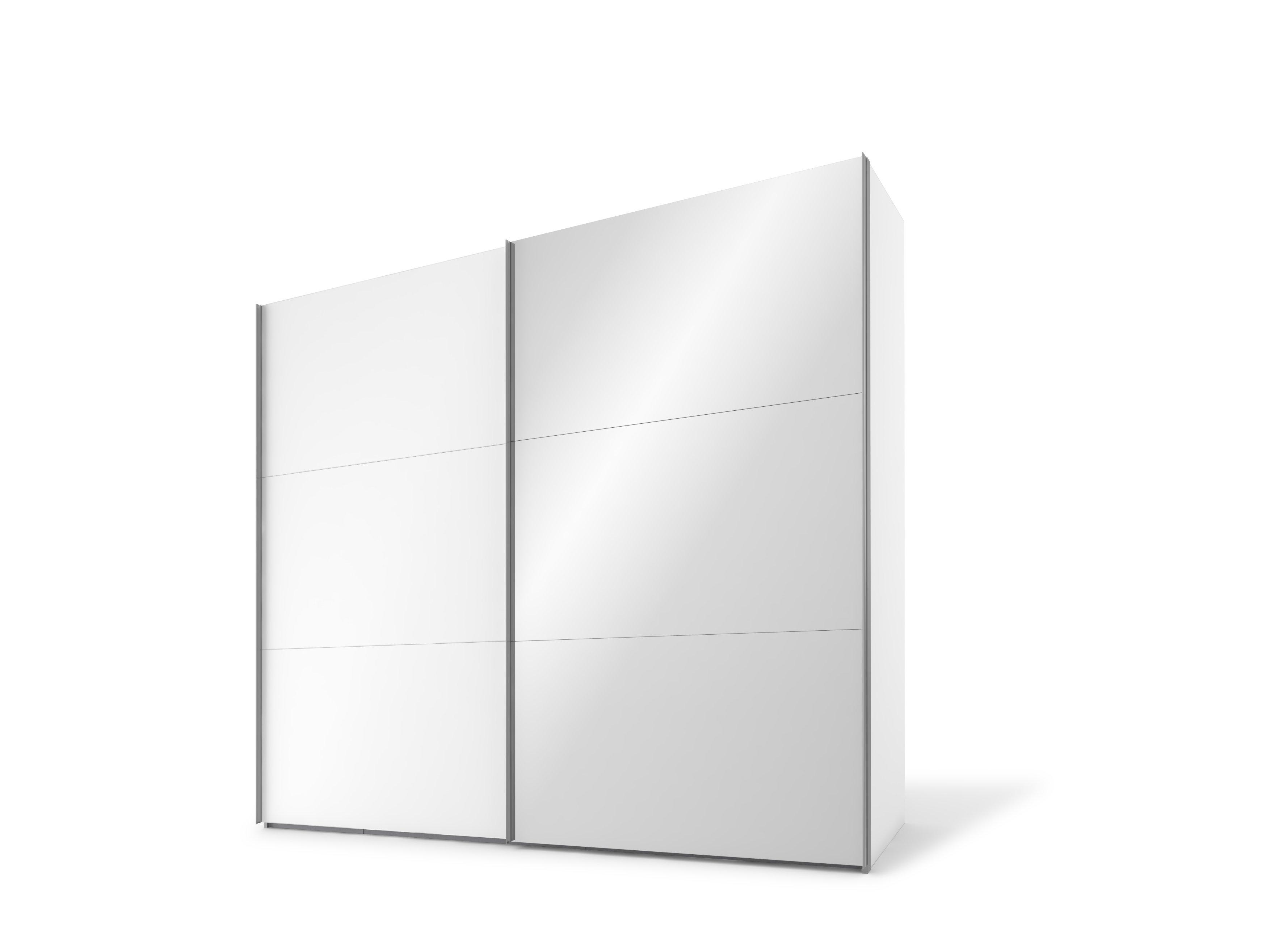 Schwebetürenschrank, Polarweiss/Spiegel