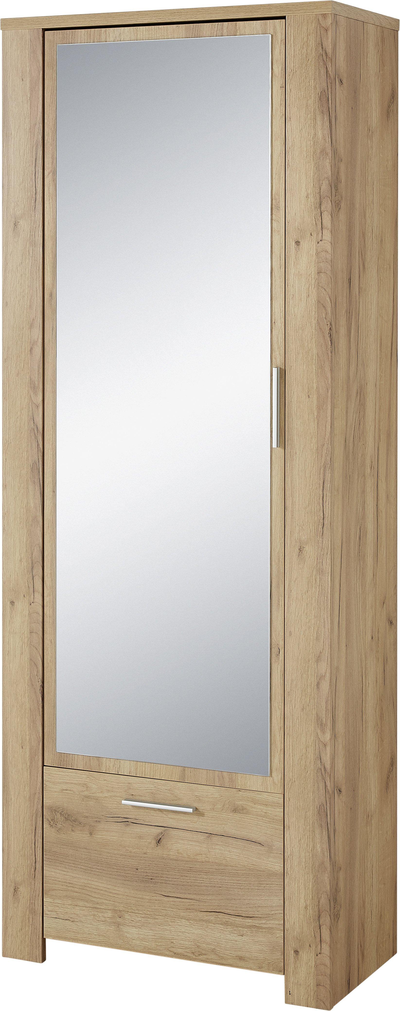 GW-CASTERA Garderobenschrank 3959, Navarra-Eiche-Nb., Spanplatte | melaminharzbeschichtet | Spiegel