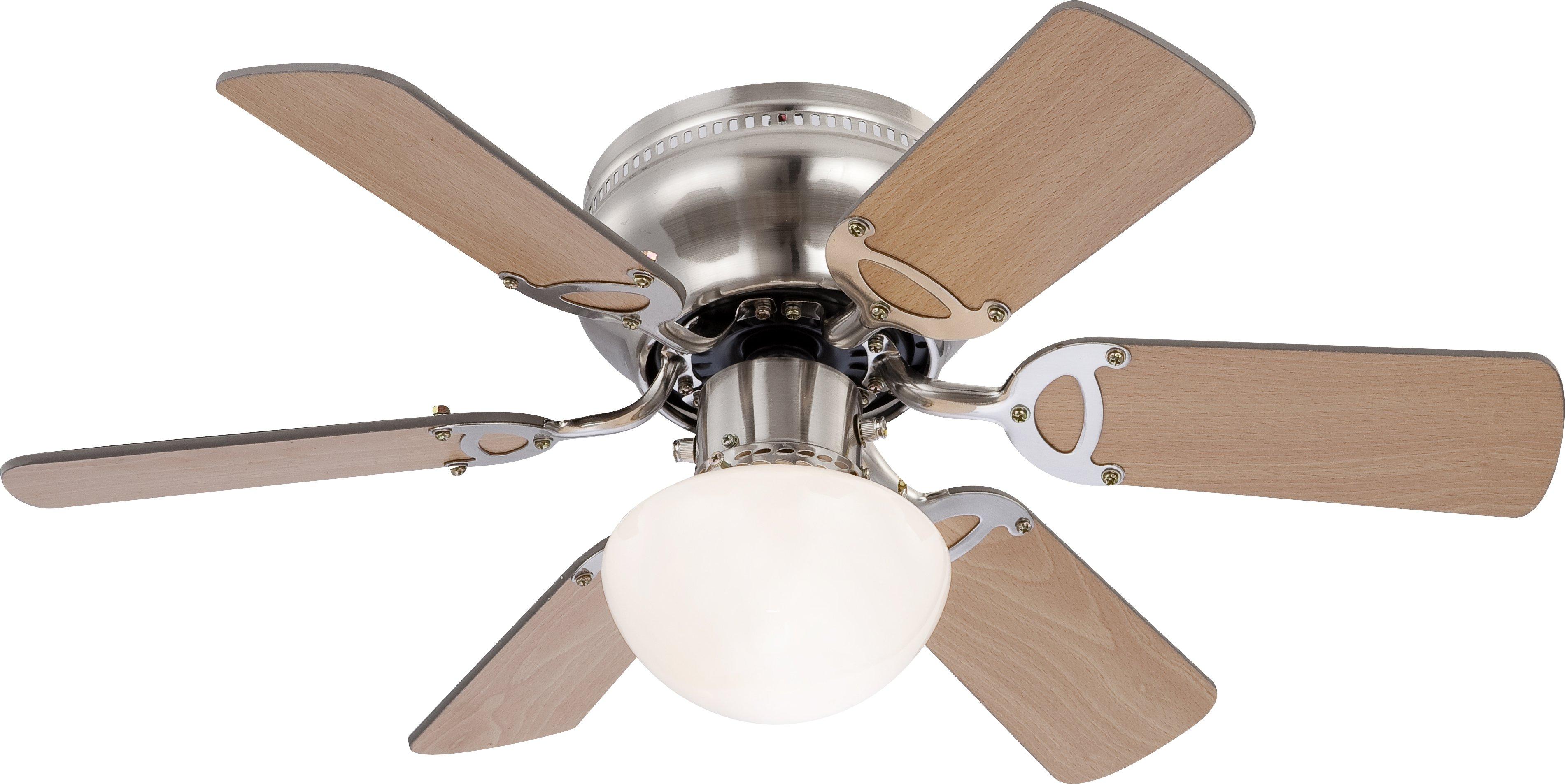 Ventilator,1xE27 B76_Buche/Gra, Metallfarben