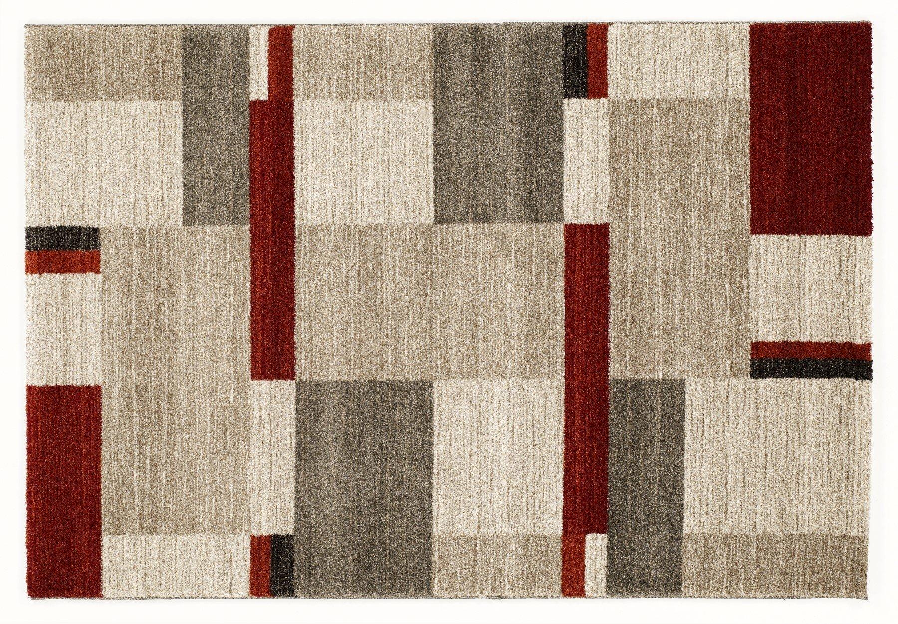 moderner Designer Teppich Öko-Tex CASTLE BEPPO beige-braun-rot