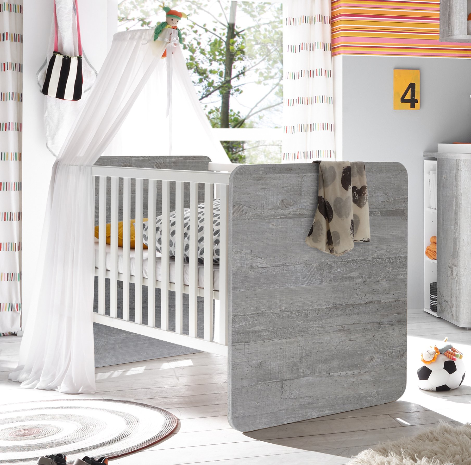 Babybett vintage wood grey / weiß matt
