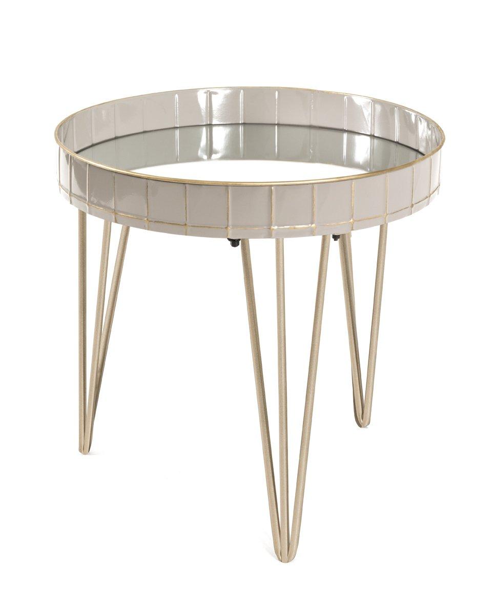 Beistelltisch, grau-bronze, Stahlrohr, Metall, Spiegelglas