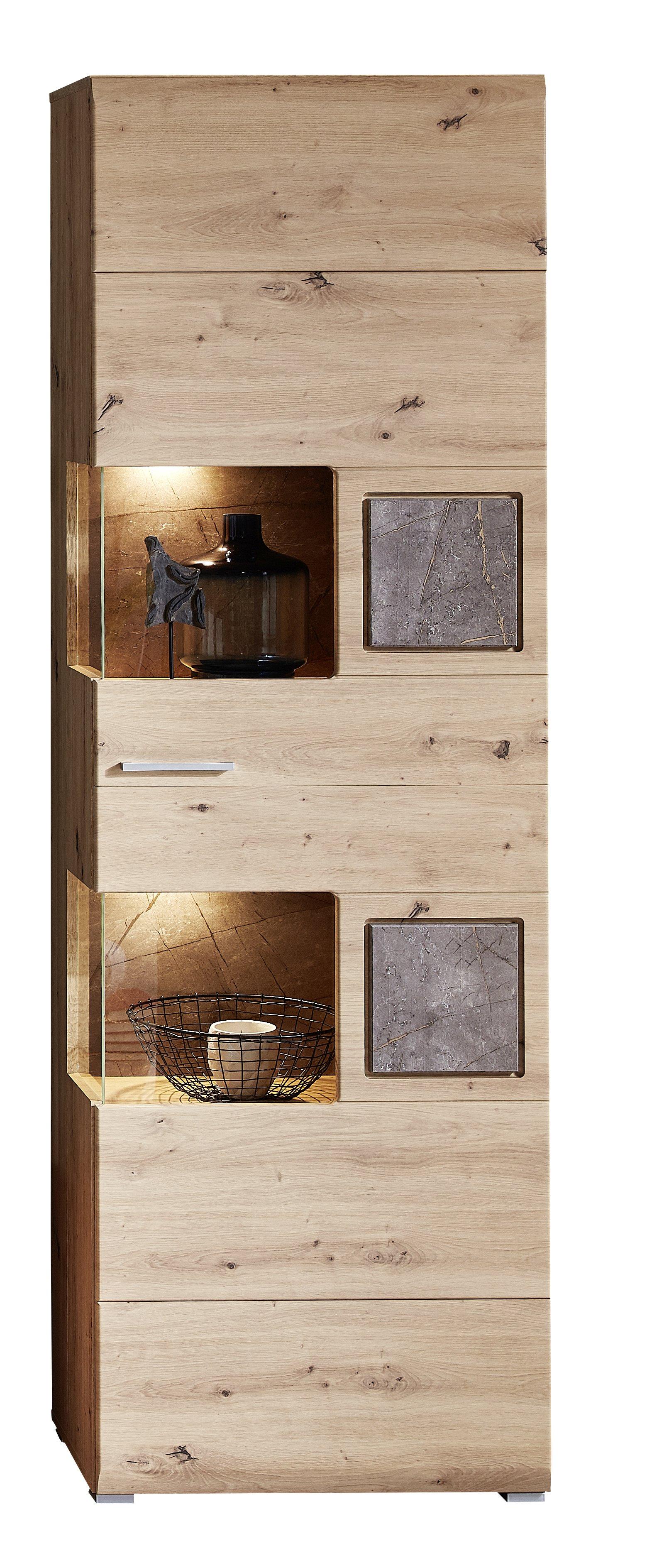 SPIDER PLUS Vitrine + Bel Artisan Eiche/Caspio dunk B/H/T ca. 65/205/37 cm