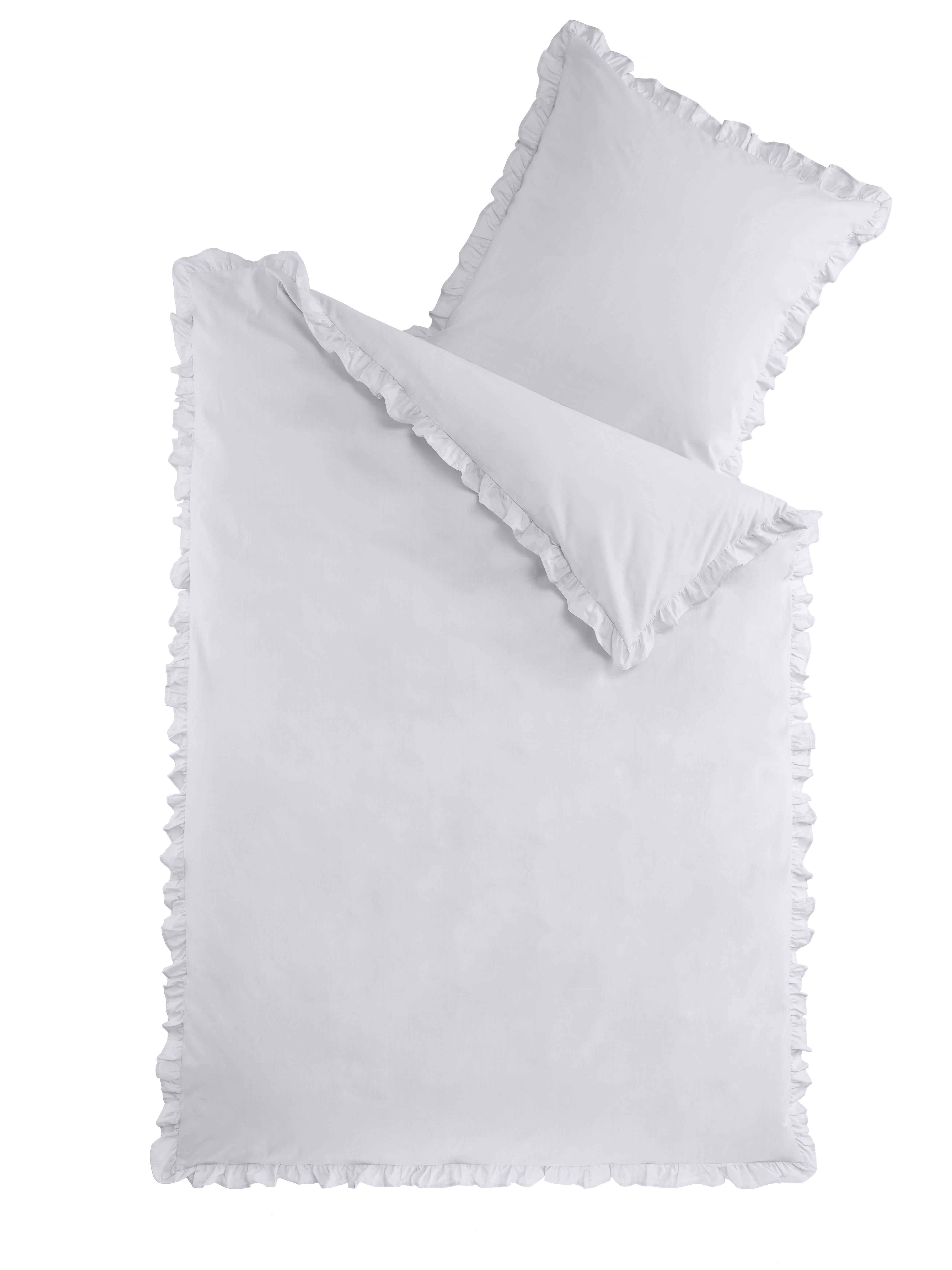 Bettwäsche Romantik mit Rüschen - Silber - 135x200cm