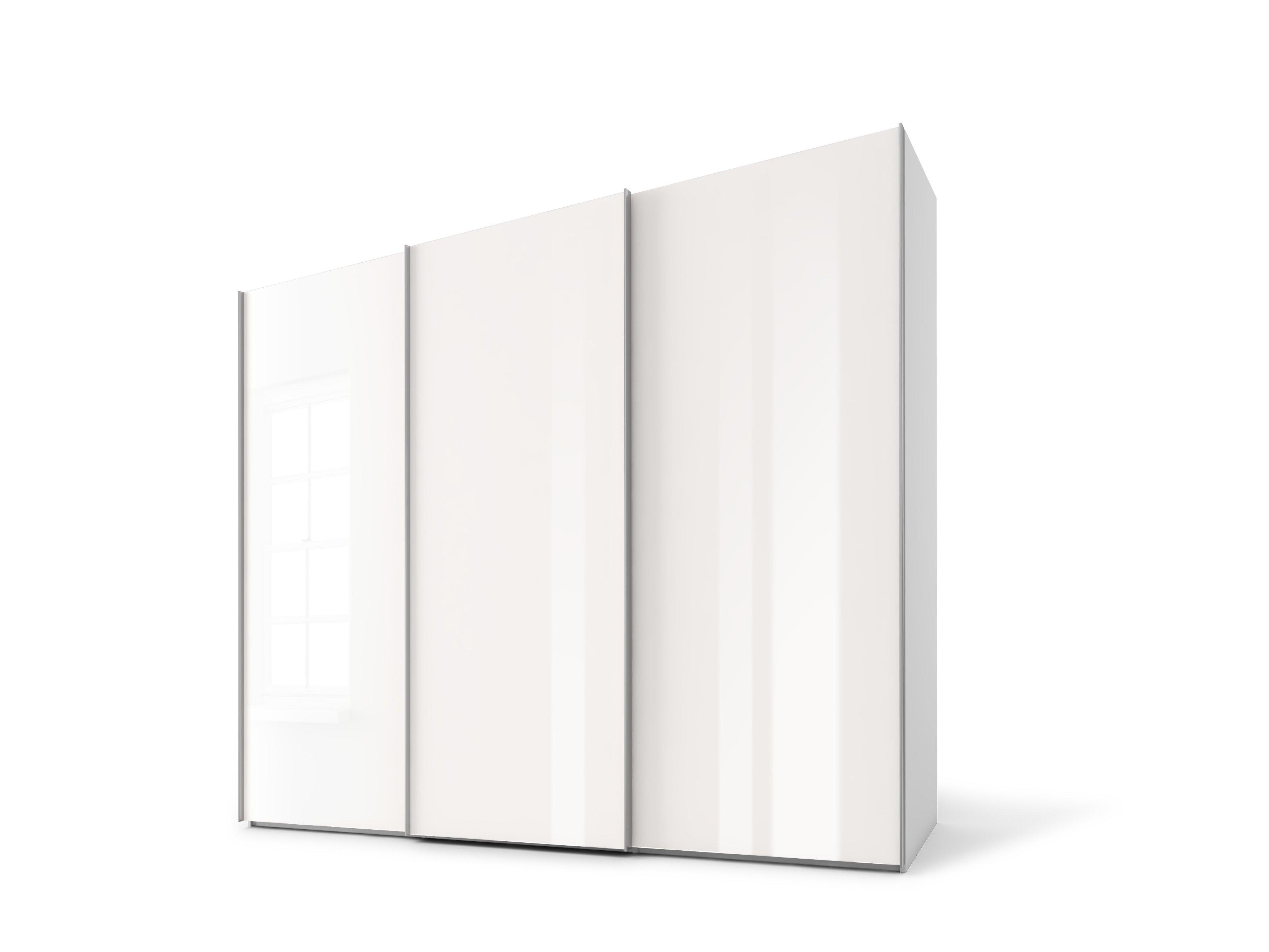 Schwebetürenschrank, Weißglas/Weißglas, Korpus  Seidengrau
