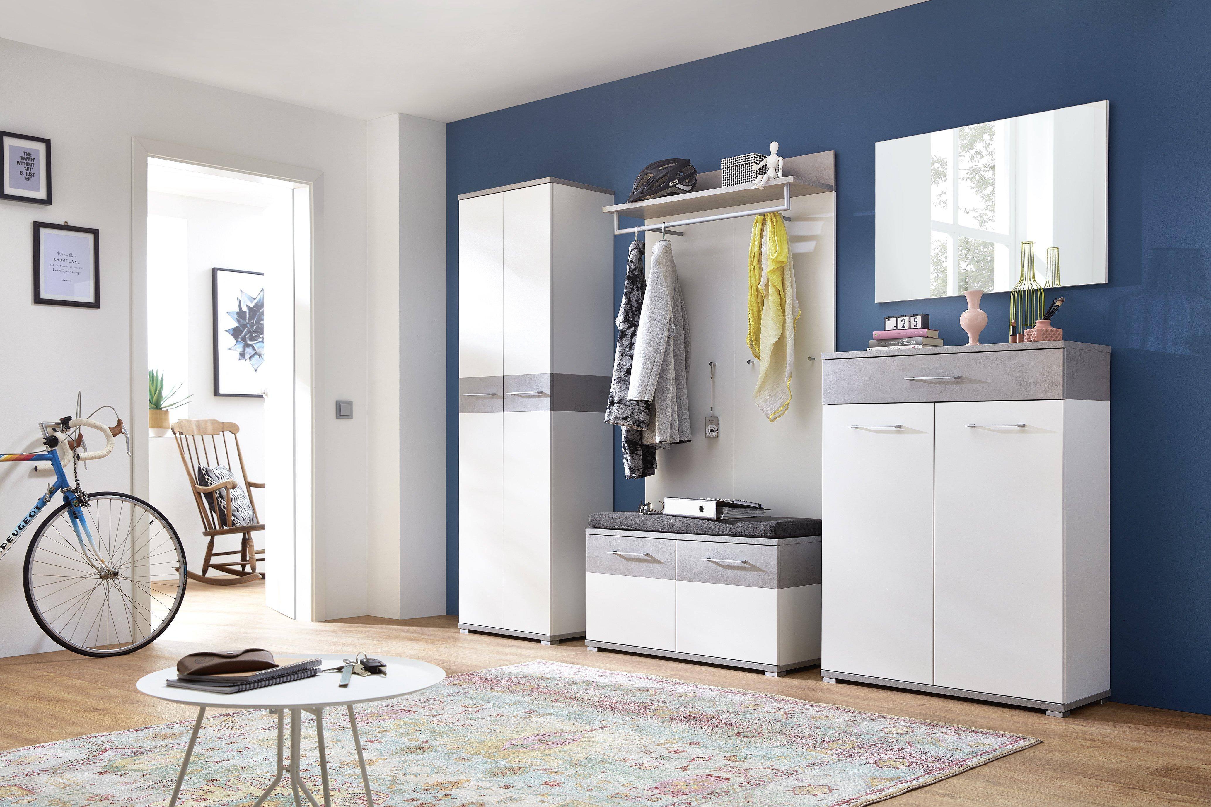 GW-Topix Garderobenschrank 3774, Weiß/Beton-Optik, Spanplatte | melaminharzbeschichtet