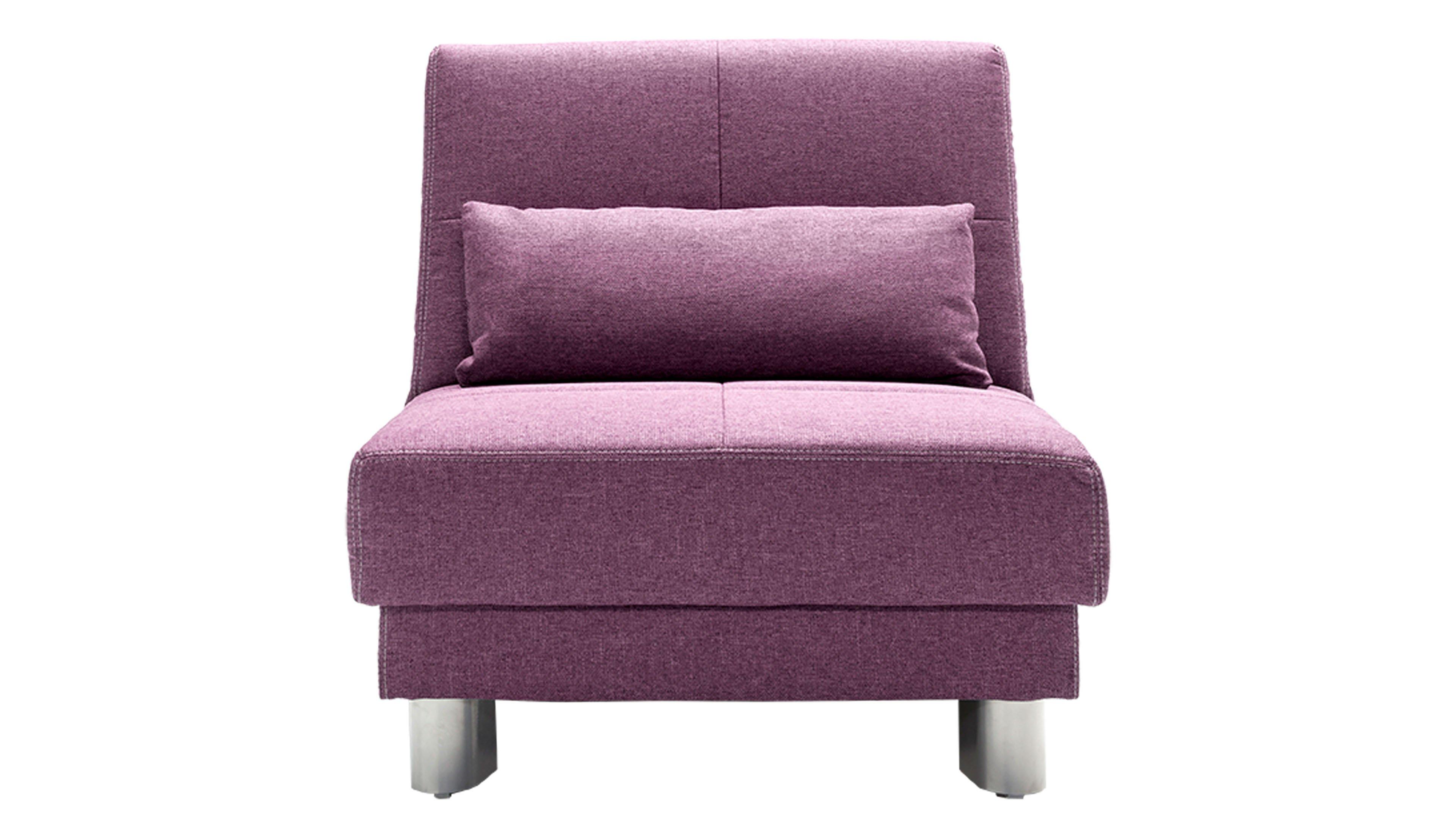 Schlafsofa Gina Bezug Enjoy 15 purple Füße Metall alufarben