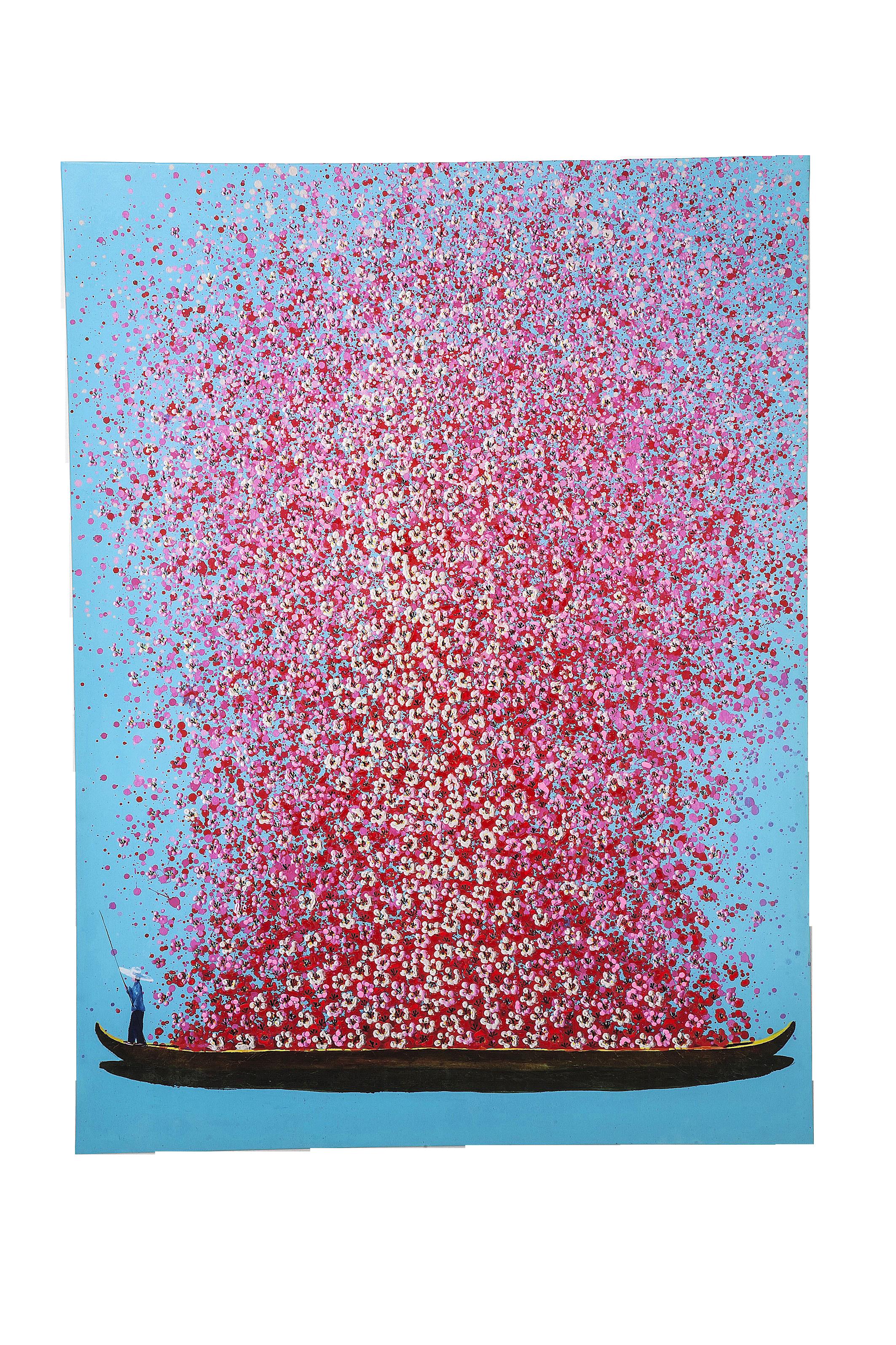 Bild Touched Flower Boat Blau Pink 160x120cm