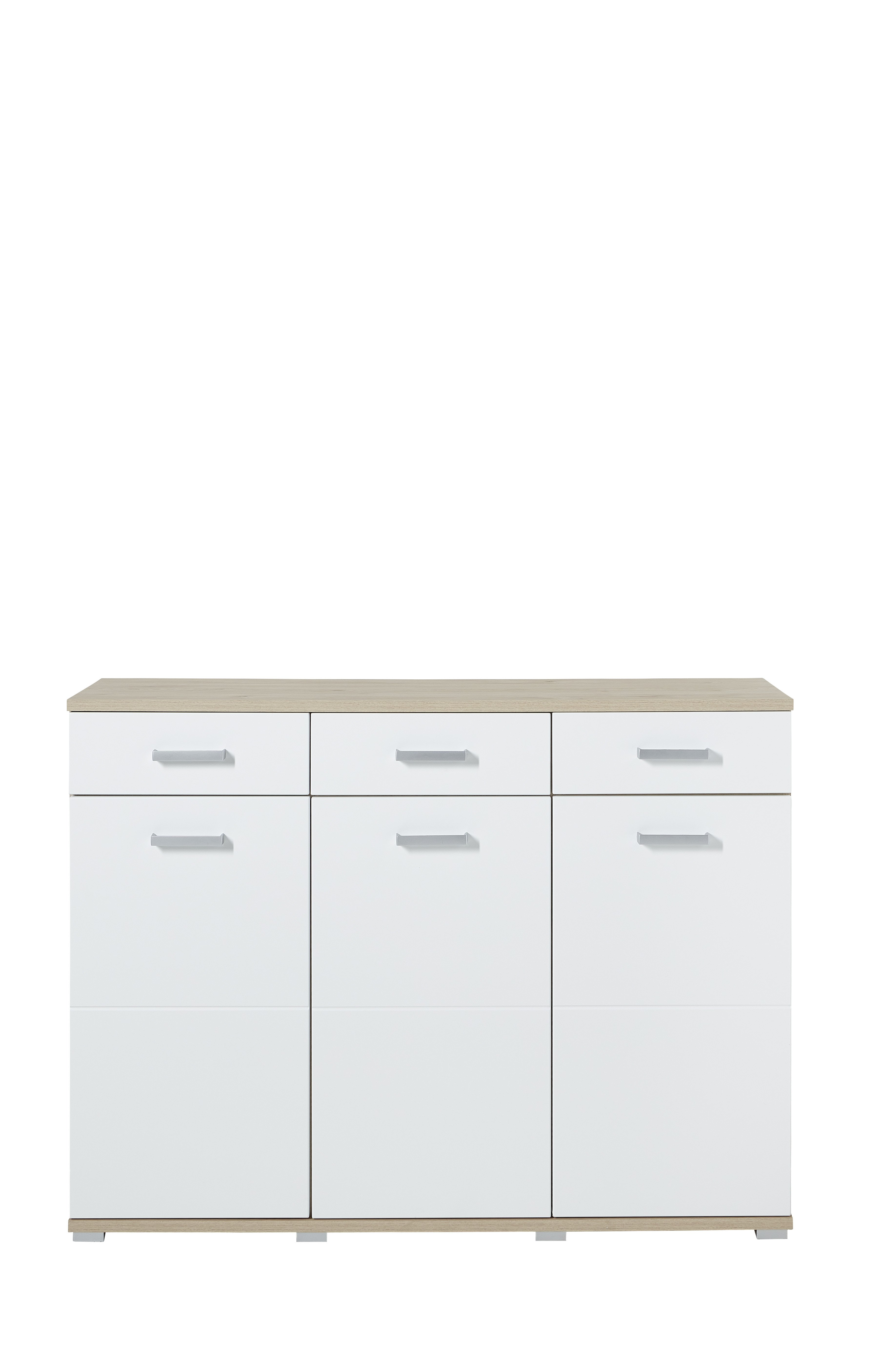Kommode Arkona, weiß, braun, Eiche, Holz, Beschichtete Spanplatte