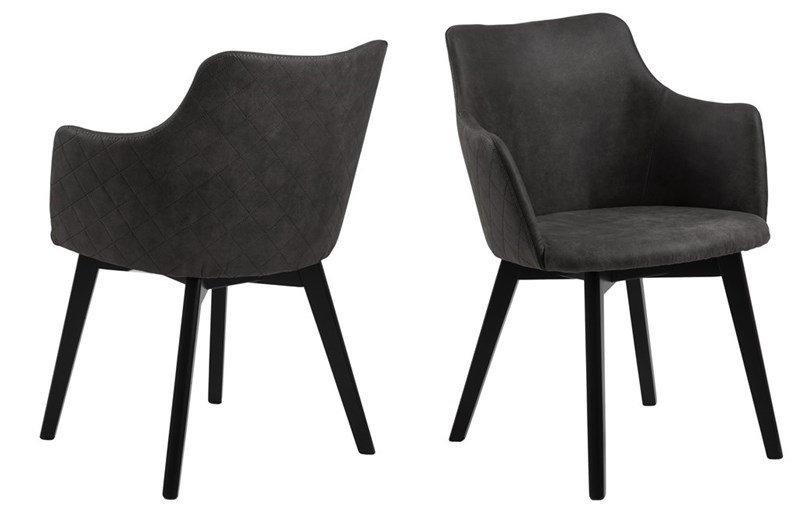 Bella Stühle mit Armlehne, schwarz,