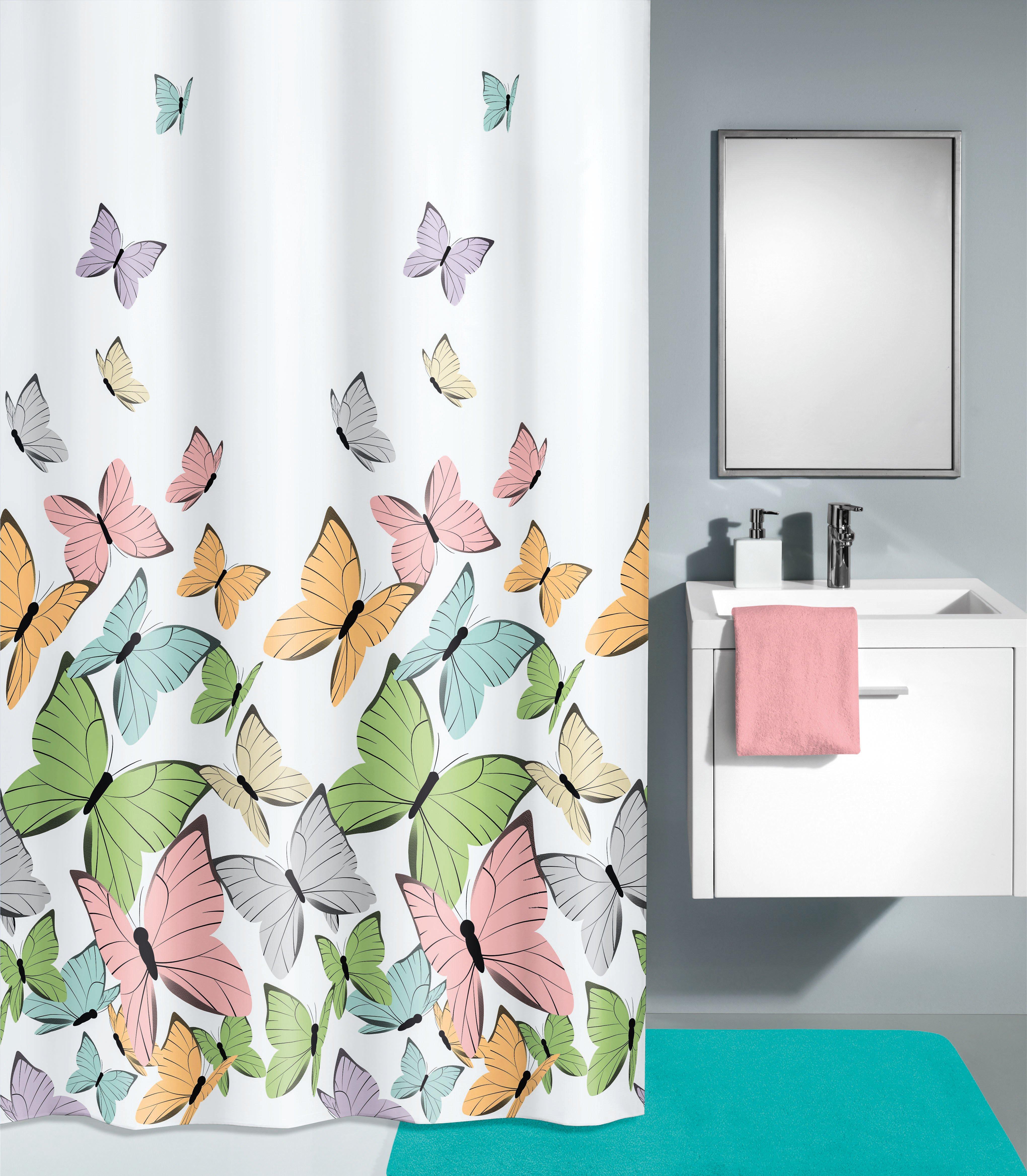 Duschvorhang Butterflies Multicolor B:180cm