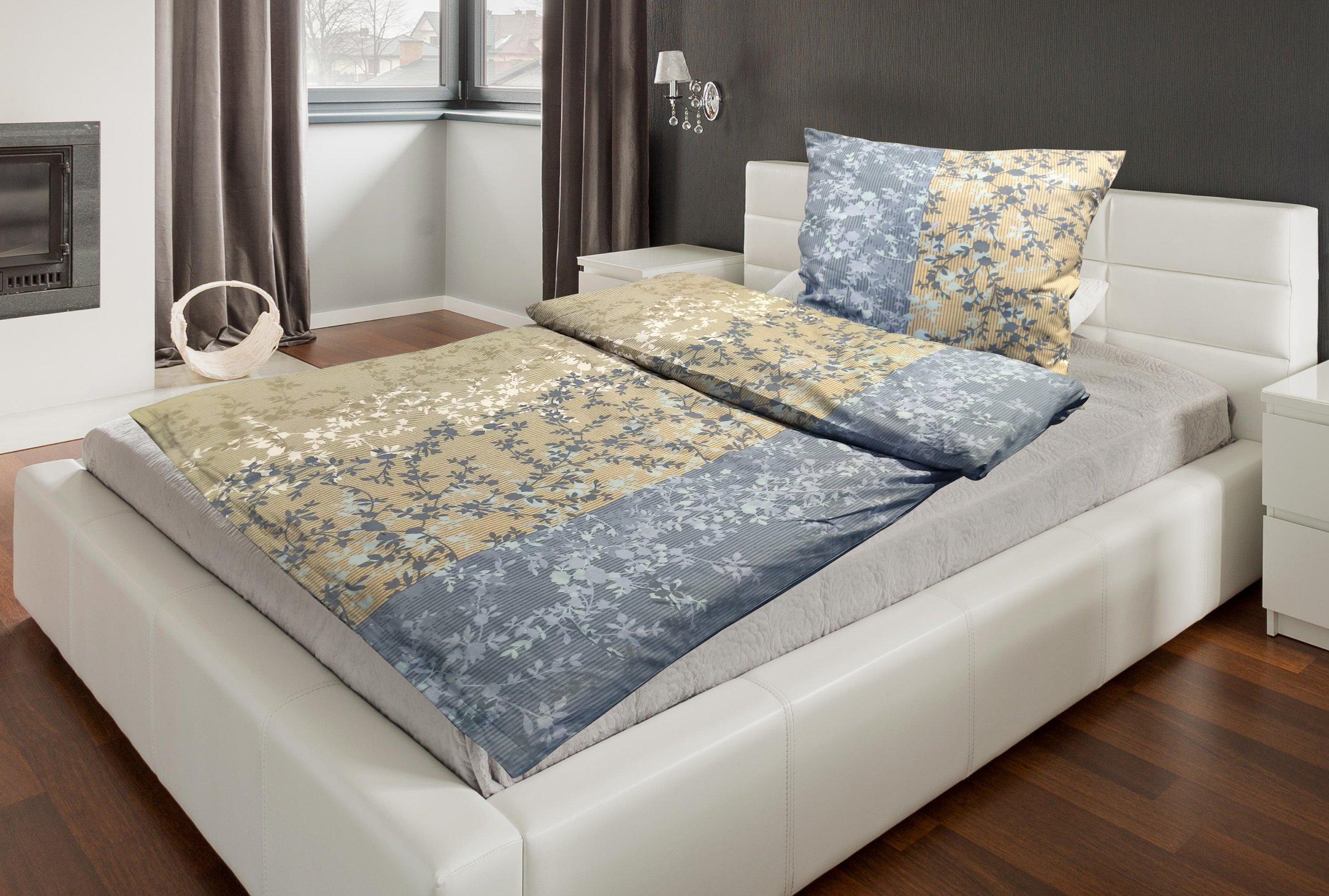 Bettwäsche Fiona 155x220cm, blau-beige