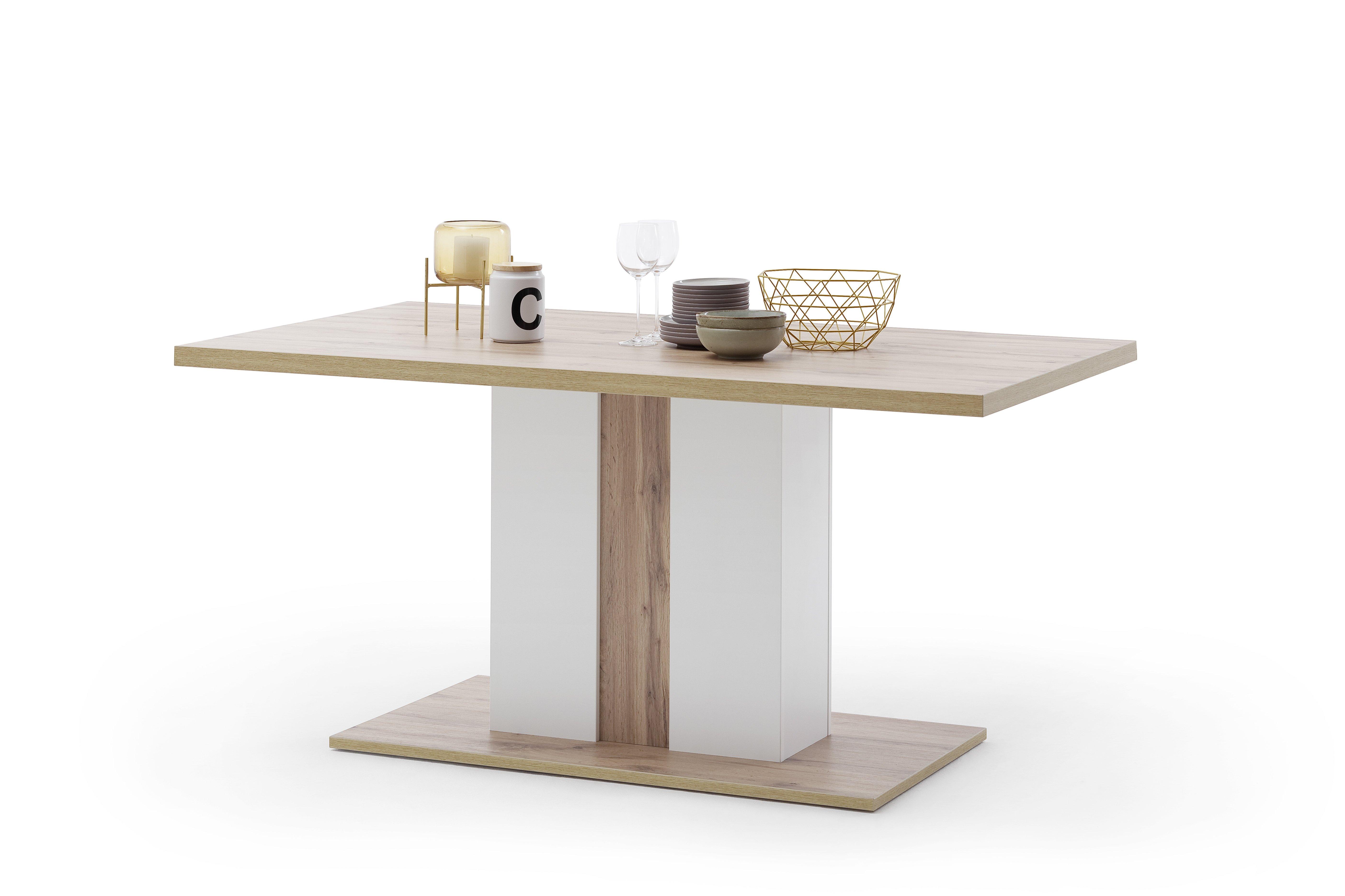 Tisch mit Säule, weiß - Wotan Eiche