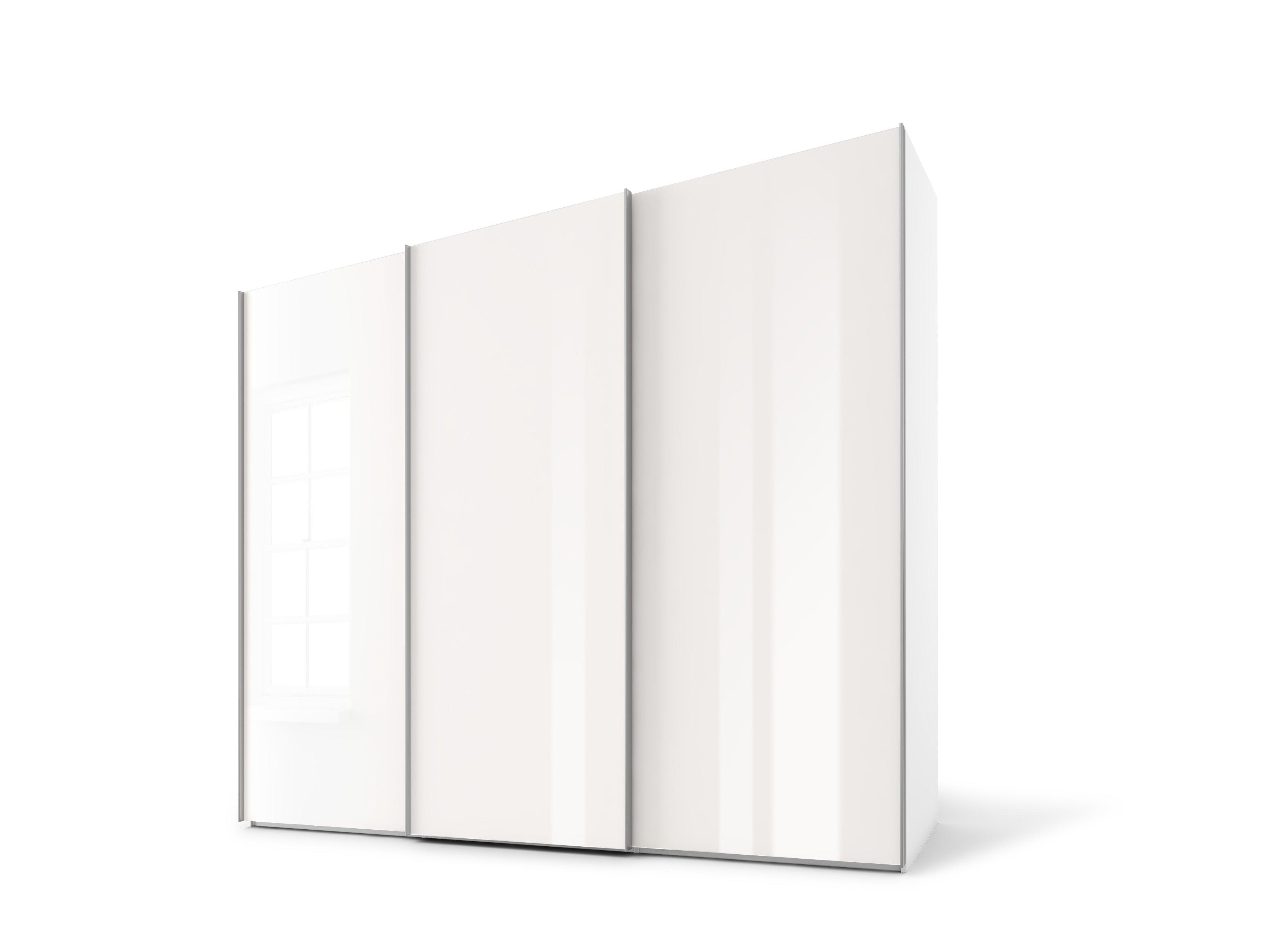 Schwebetürenschrank, Weißglas/Weißglas, Korpus  Polarweiß