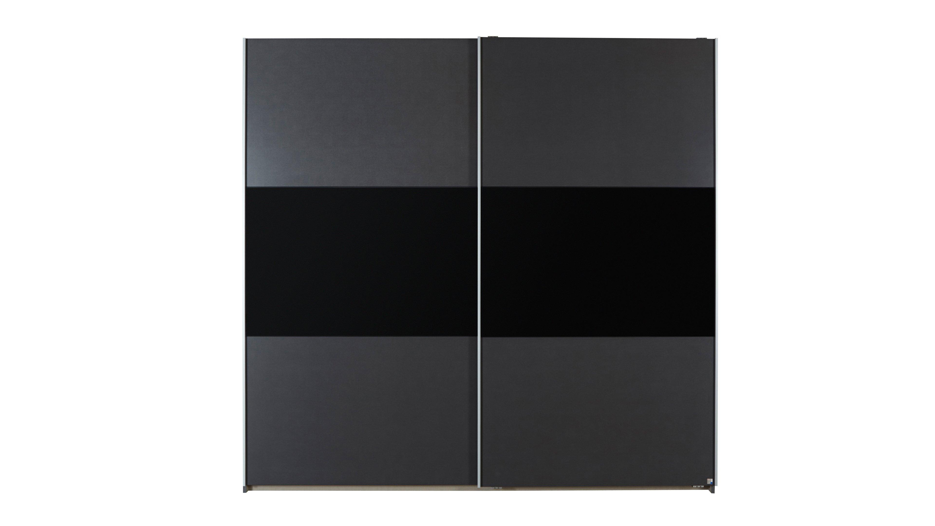 Schwebetürenschrank Loriga Grau-metallic, Schwarz, Aluminium