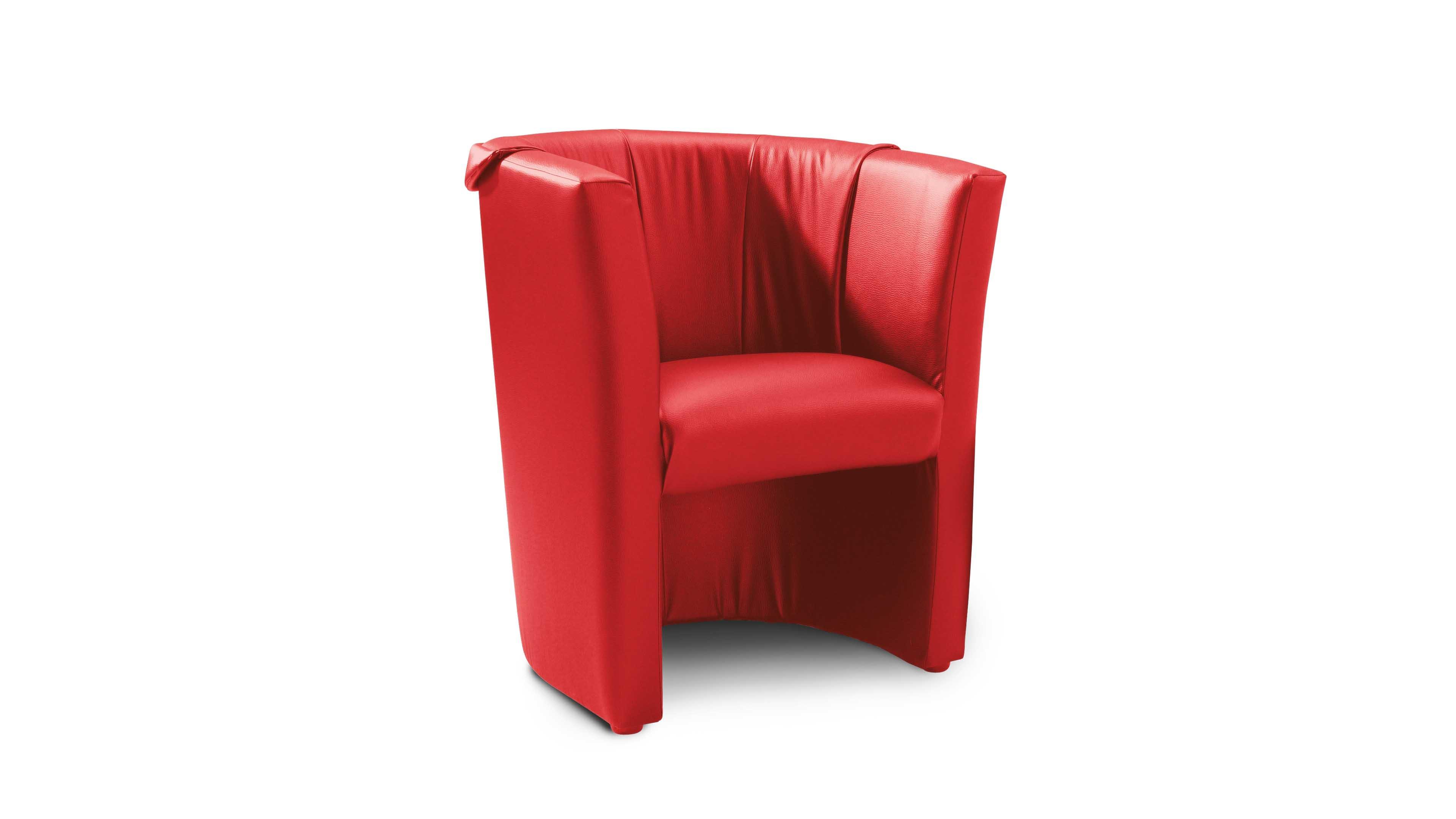 Sessel Charly Rot Roter Kunstlederbezug Ergis