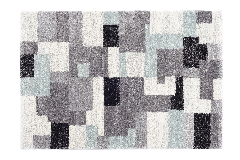 moderner Designer Teppich Öko-Tex STEADY ALLOVER grau-blau