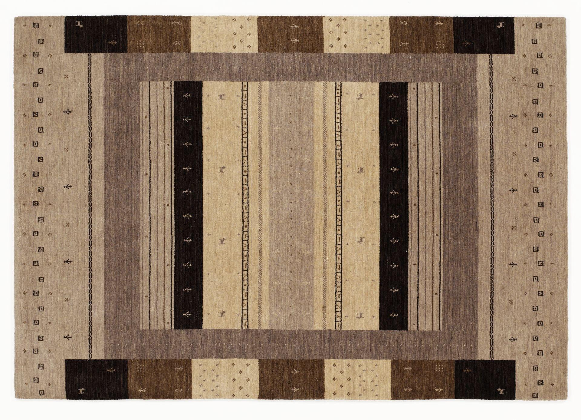 handgewebter Schurwoll Teppich LORIBA NOMAD NATURE multicolor