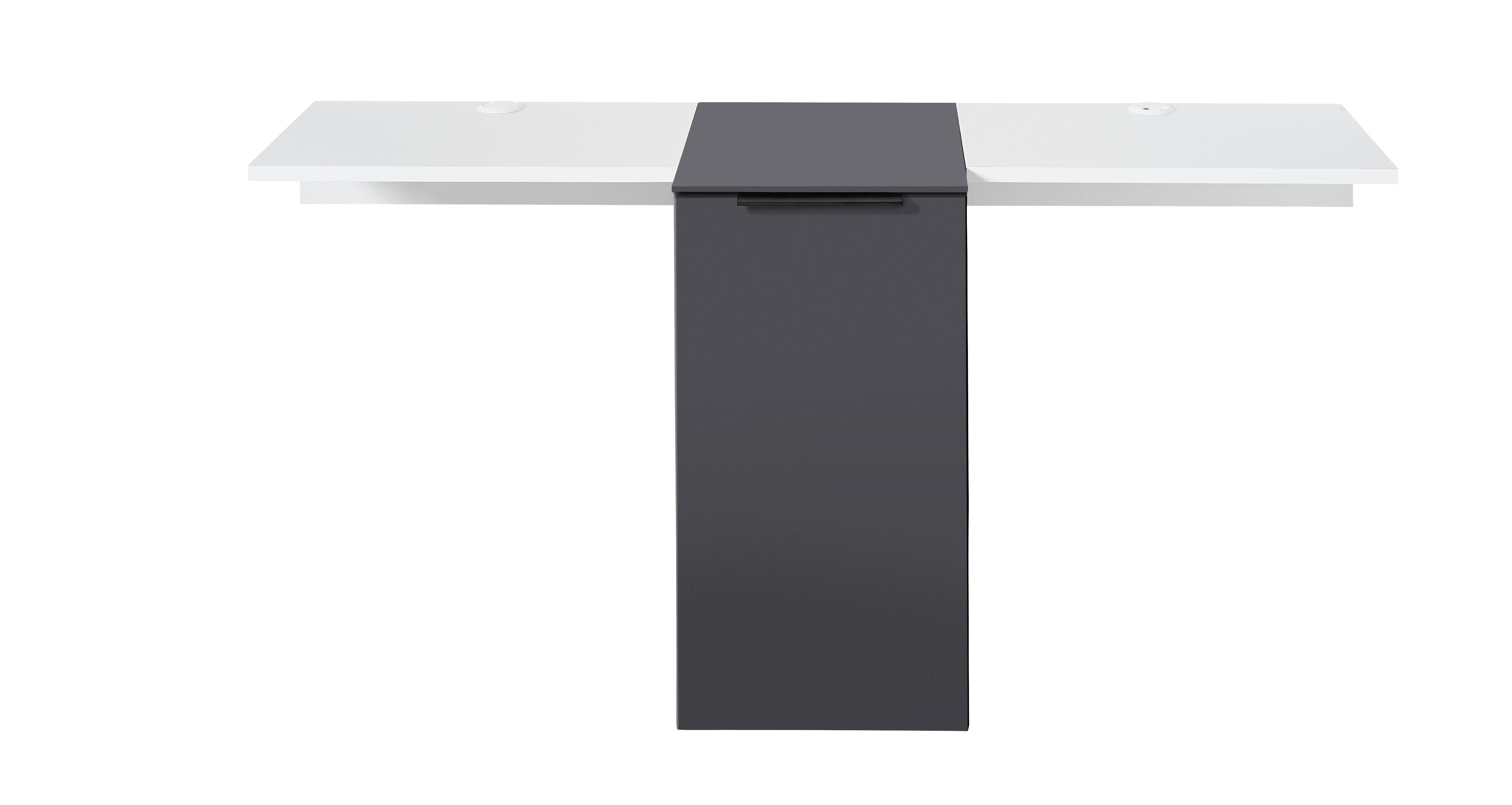 MEDIANA TV-Element+Brücke weiß matt/graphit matt B/H/T ca. 159/75/50 cm