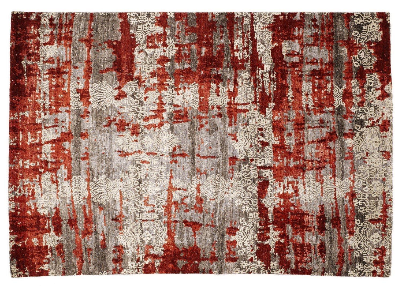 echter original handgeknüpfter Designer-Teppich SIGNATURE FUSION braun-rot