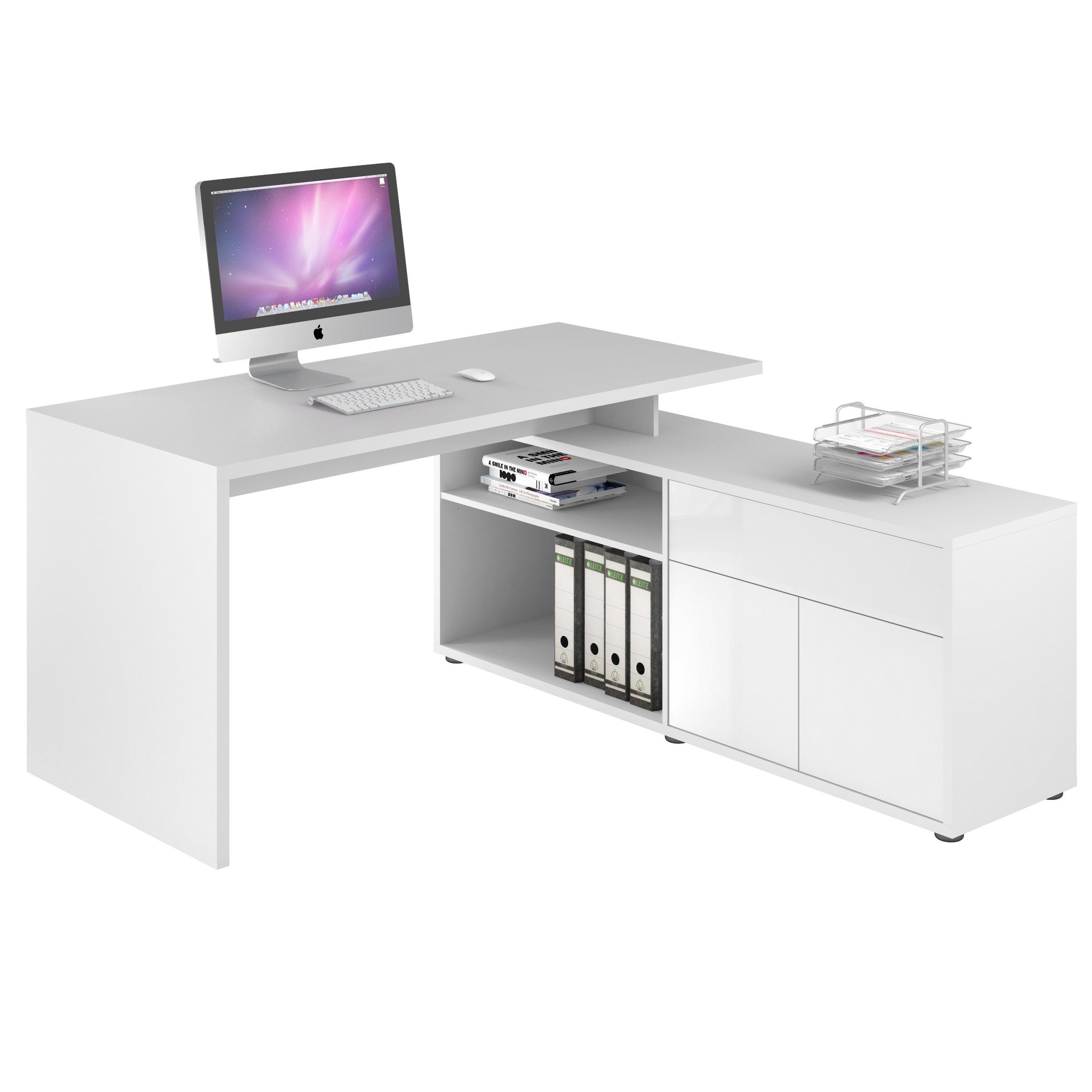 Schreib- und Computertisch Icy-weiß - weiß Hochglanz