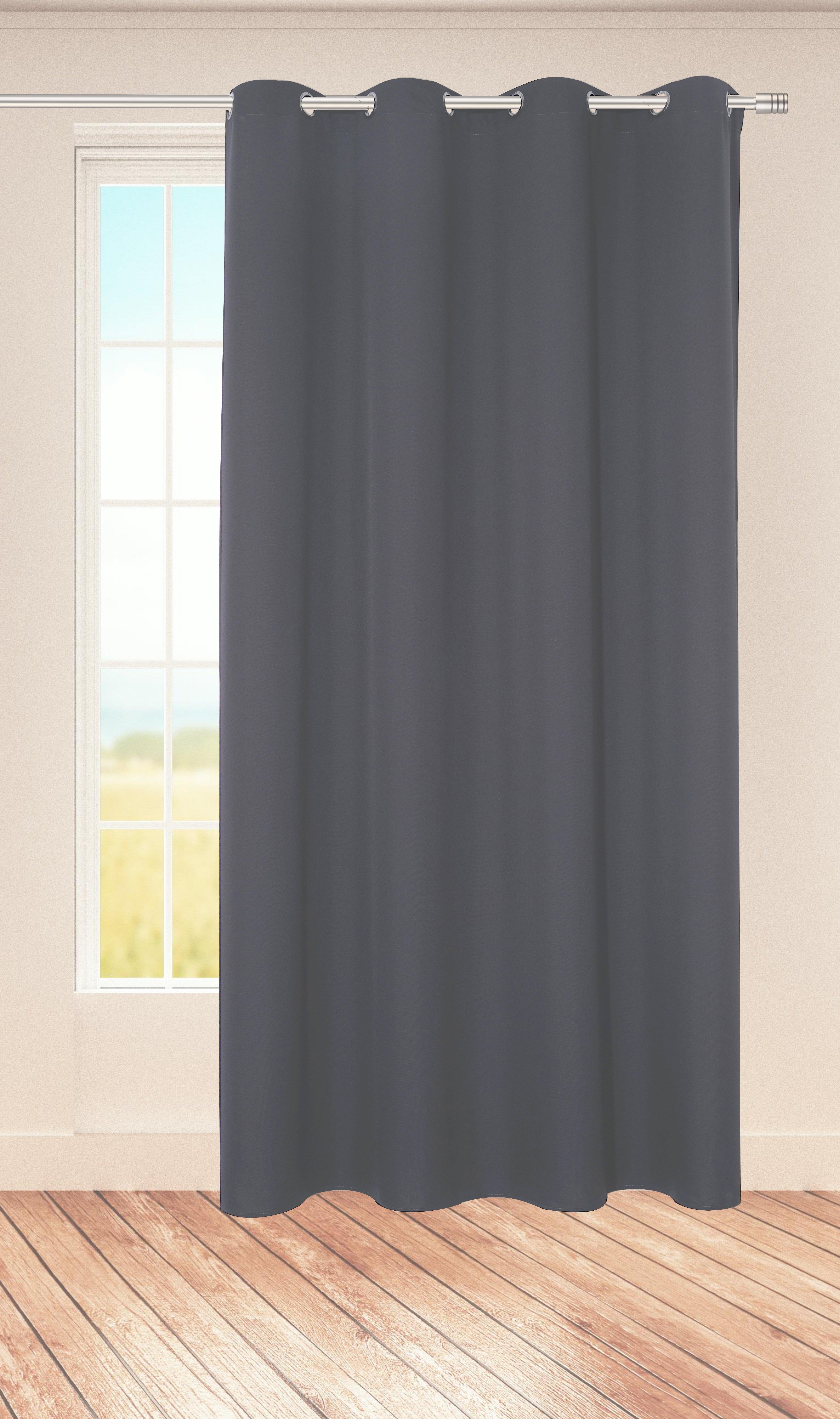 Ösenvorhang Midnight 140x245cm, dunkelgrau