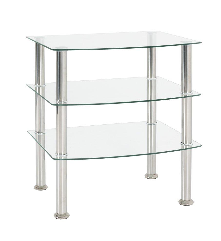 Beistelltisch, Edelstahl-Klarglas, Edelstahl, Glas 5mm