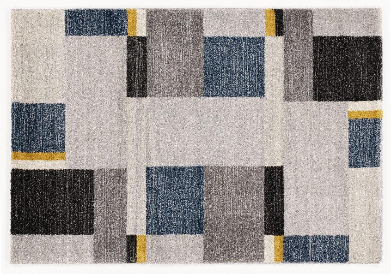 moderner Designer Teppich Öko-Tex CASTLE BEPPO grau-mix-blau