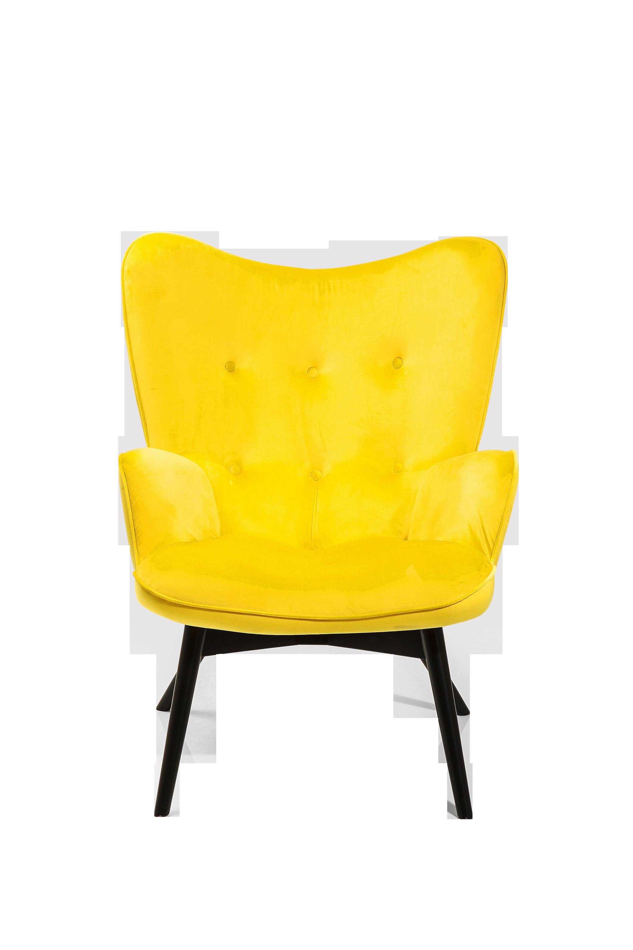Sessel Black Vicky Velvet Yellow