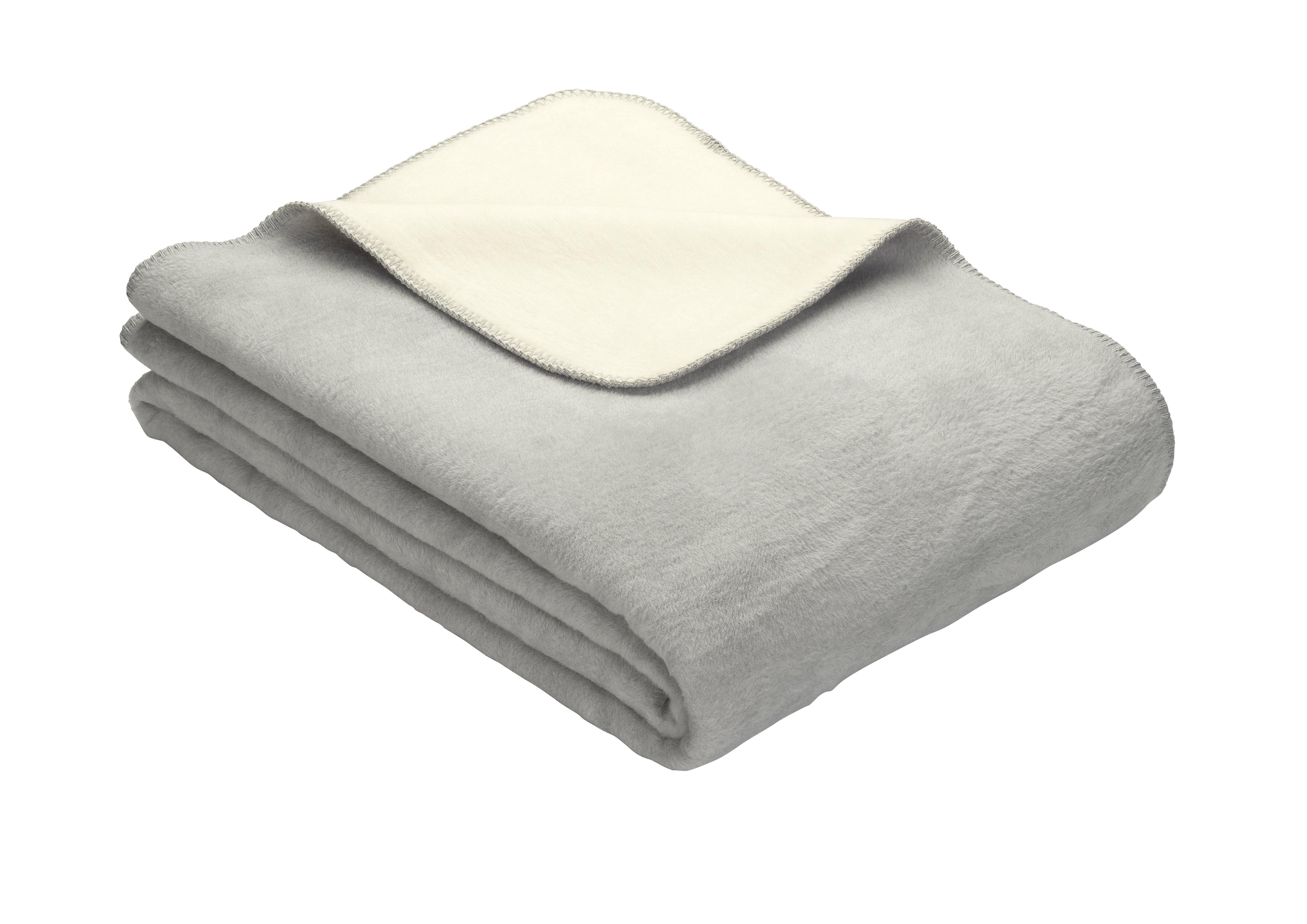 Uni Kniedecke Doubleface Dublin Silber-Weiss 100x150 cm