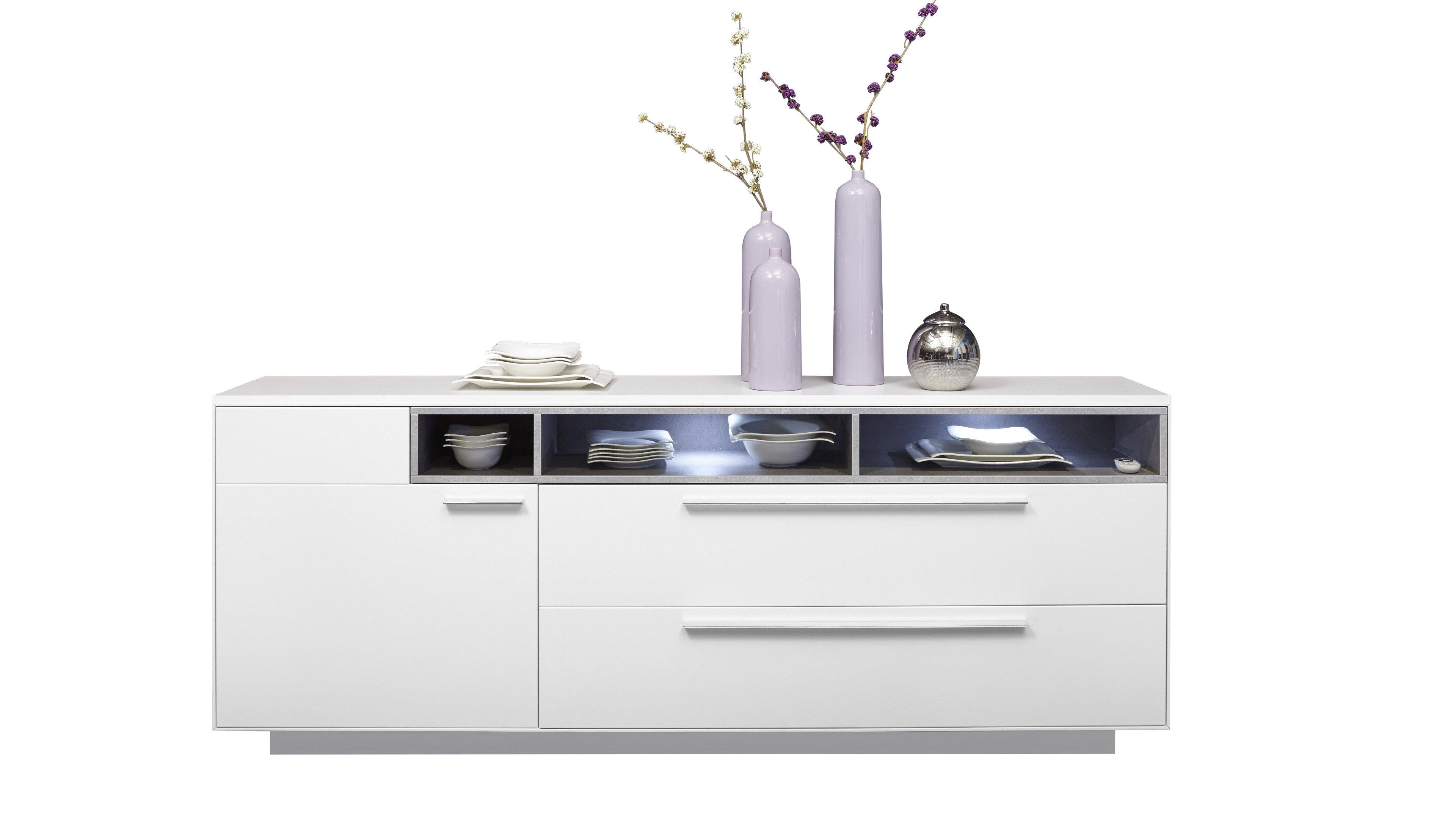 Sideboard V 8 FR: Weiß Mattlack, Claystone Hellgrau 018
