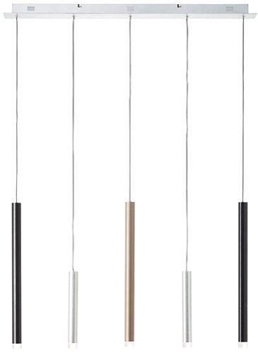 LED Pendel 5-flammig B89 H120 T8,5, braun/schwarz/eisen