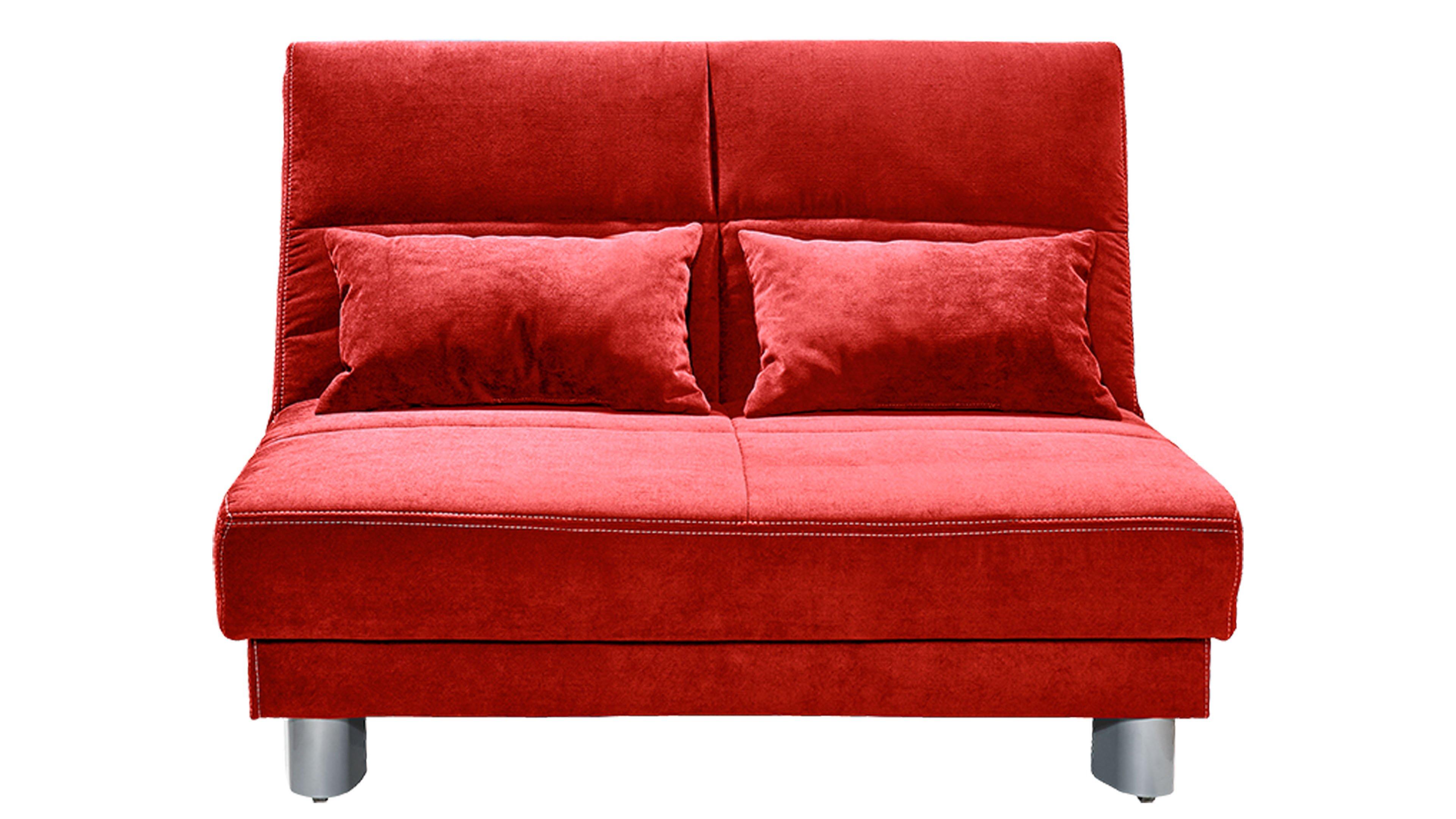 Schlafsofa Gina Bezug Enjoy 14 Rot Füße Metall alufarben