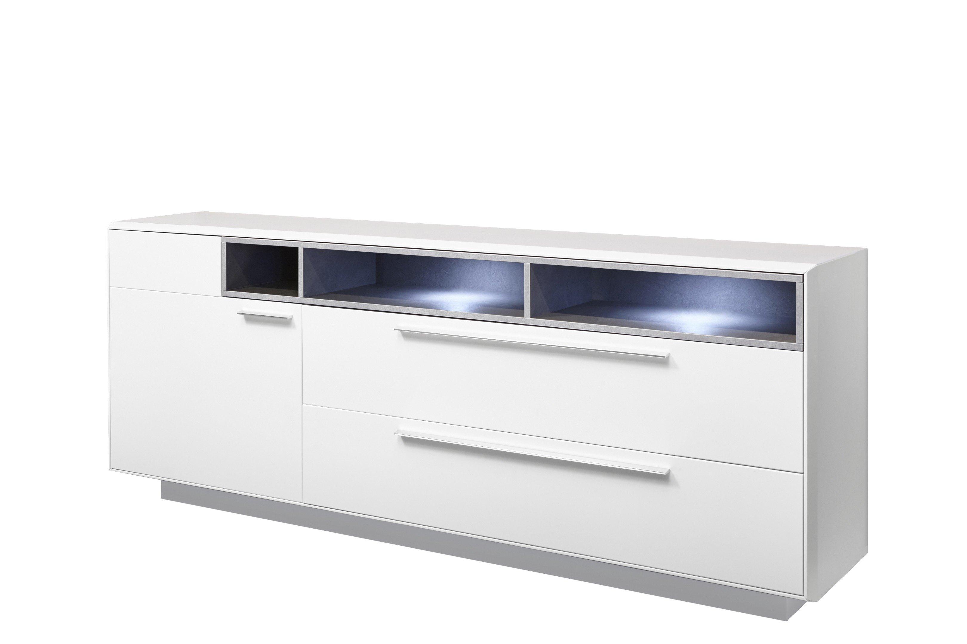 Sideboard V 8 FR: Weiß Mattlack, Claystone Hellgrau