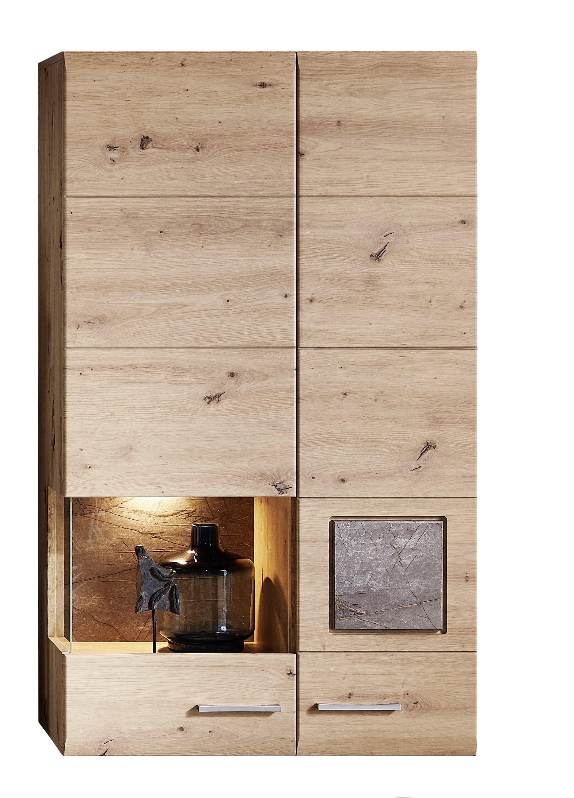 SPIDER PLUS Vitrine + Bel Artisan Eiche/Caspio dunk B/H/T ca. 80/136/37 cm
