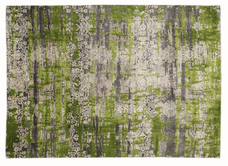 echter original handgeknüpfter Designer-Teppich SIGNATURE FUSION grau-h.grün