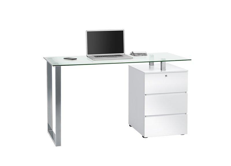 Schreib- und Computertisch Metall Chrom - weiß Hochglanz