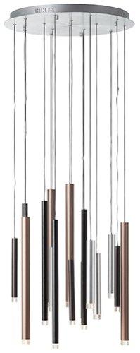 LED Pendel 16-flammig H180 D55,3, braun/schwarz/eisen