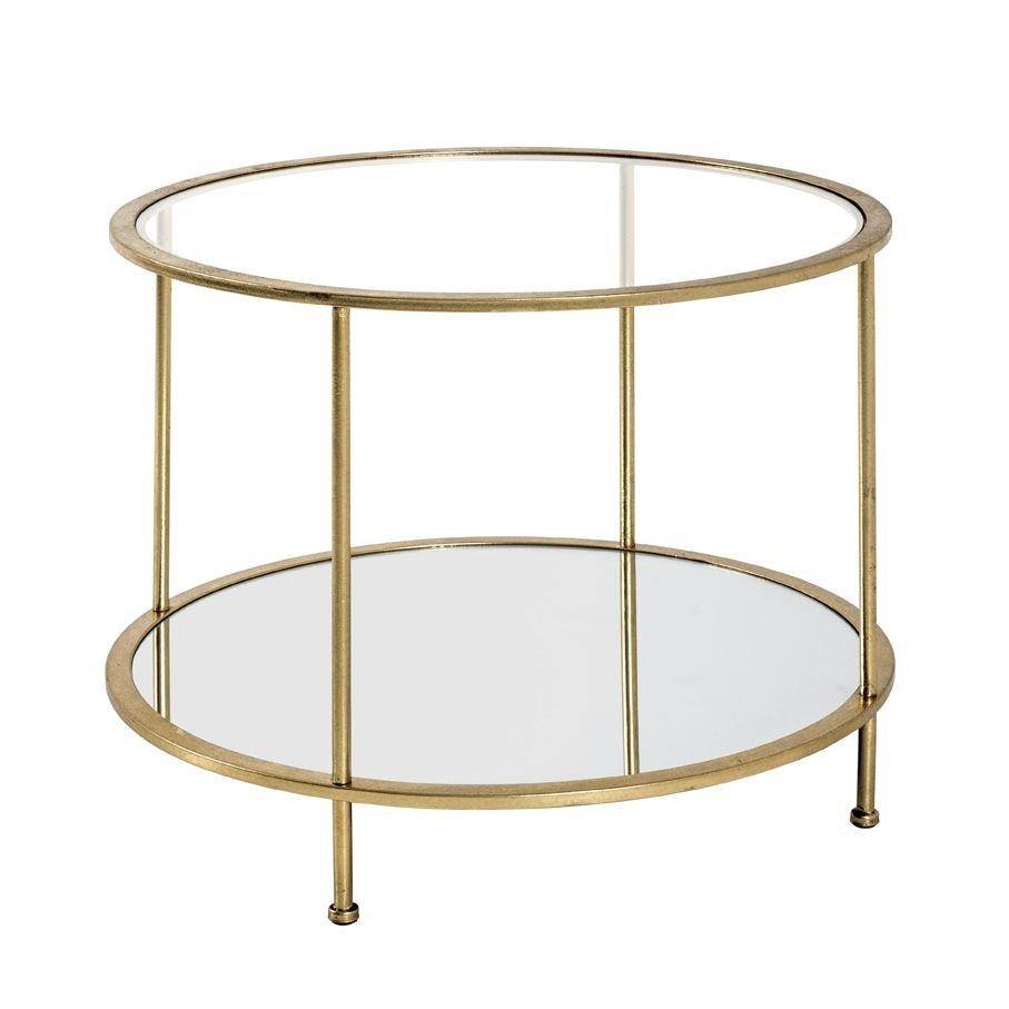 Beistelltisch, gold, Stahlrohr, Spiegelglas, SHG 5 mm