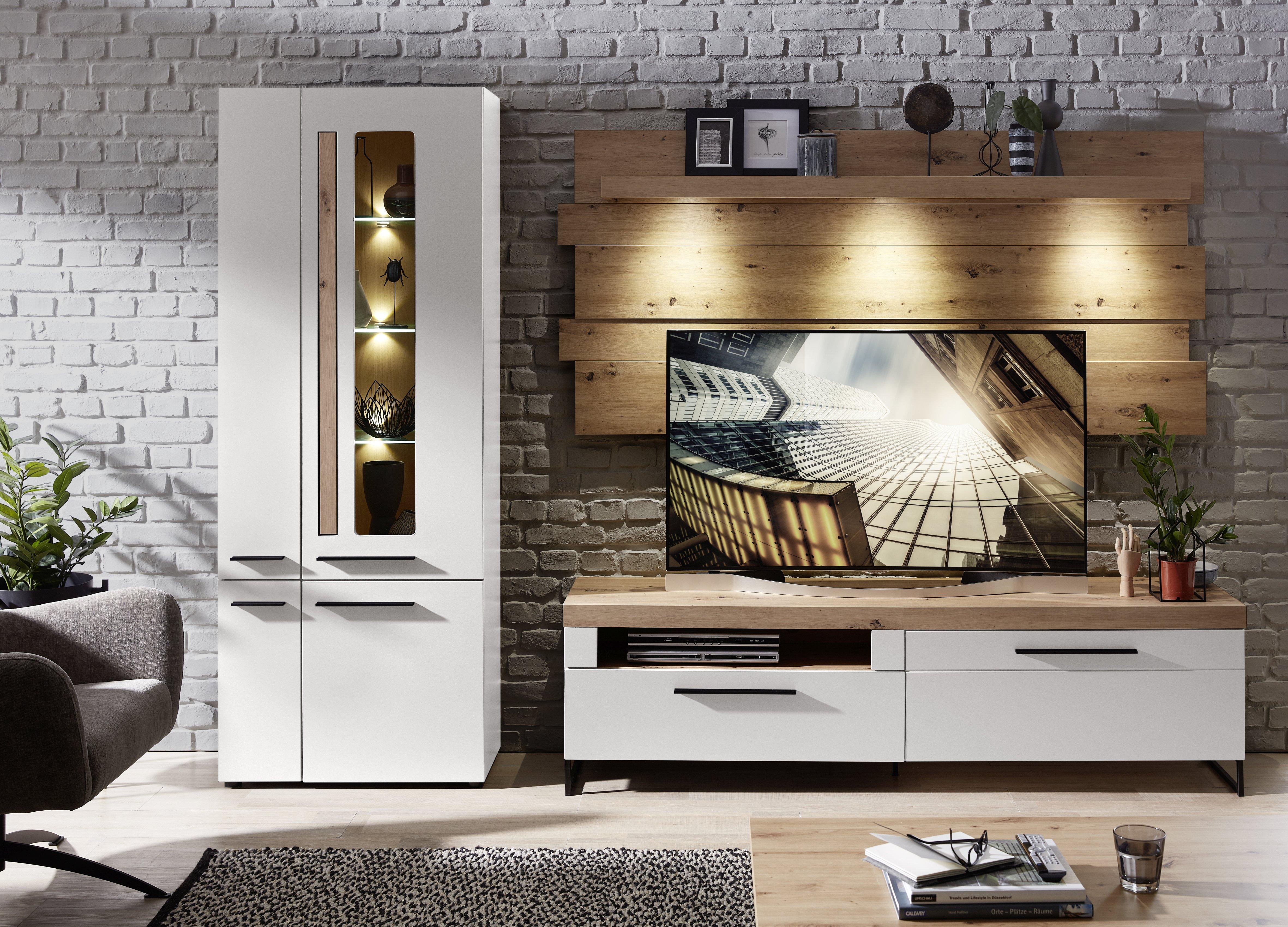 LOFT-TWO TV-Wohnlösung+BL ArtisanEiche/weiss matt B/H/T ca. 288/201/44 cm
