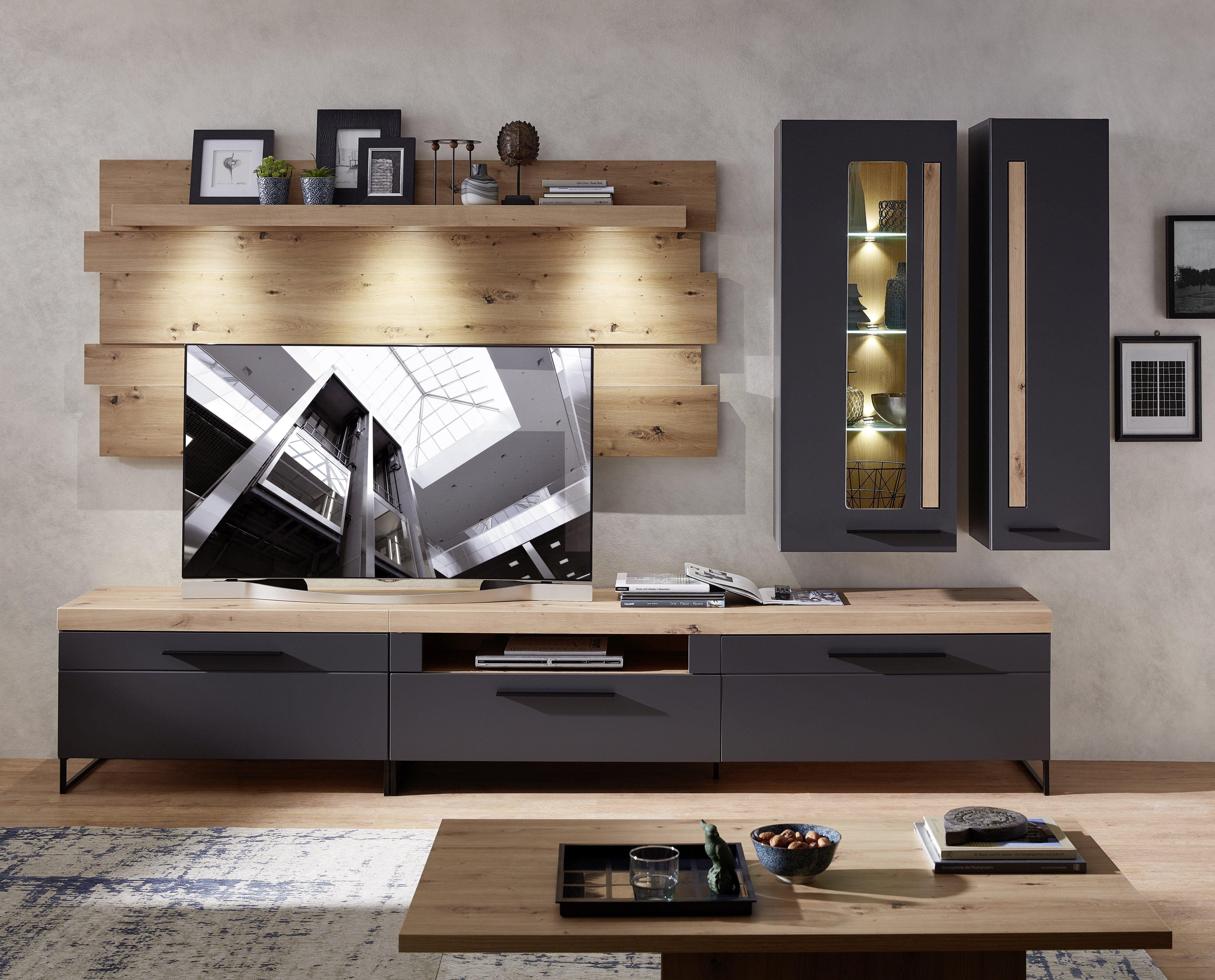 LOFT-TWO TV-Wohnlösung+BL ArtisanEiche/Graphit matt B/H/T ca. 314/201/44 cm