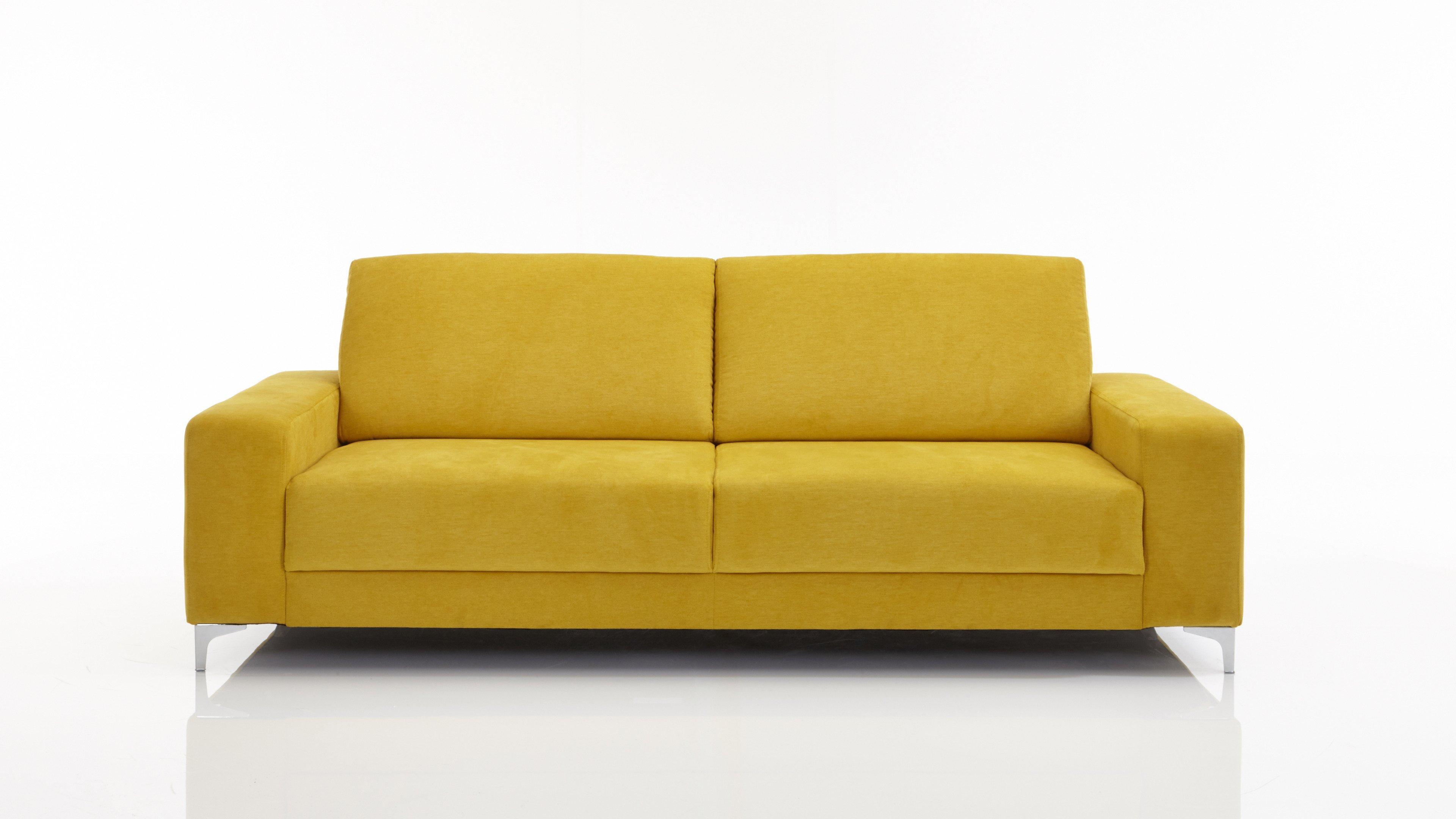 25-Sitzer U-Ecke Gelb Mustardfarbener Bezug Imperio 401 & Chromfüße