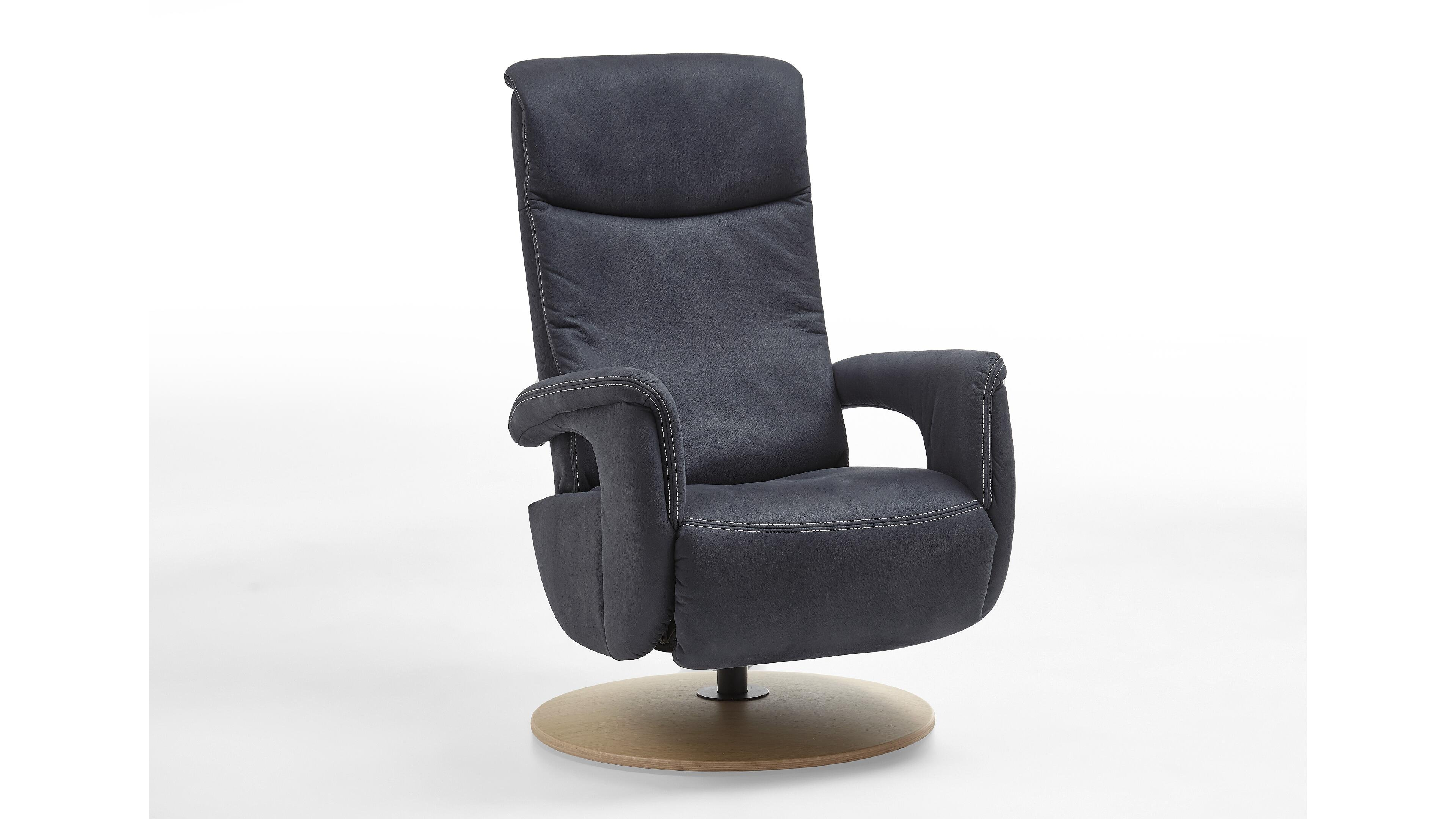 Relaxsessel EasyChair S Blau Denimfarbene Mikrofaser Deluxe & Holz